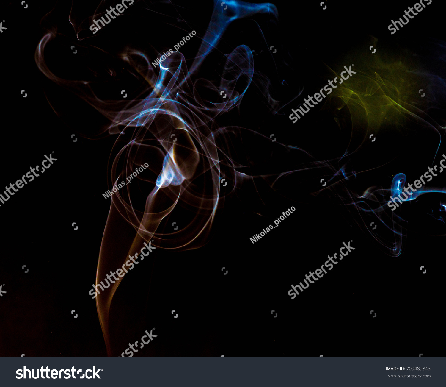 Multicolored Smoke Dissipates Air On Isolated Stock Photo (Royalty ...