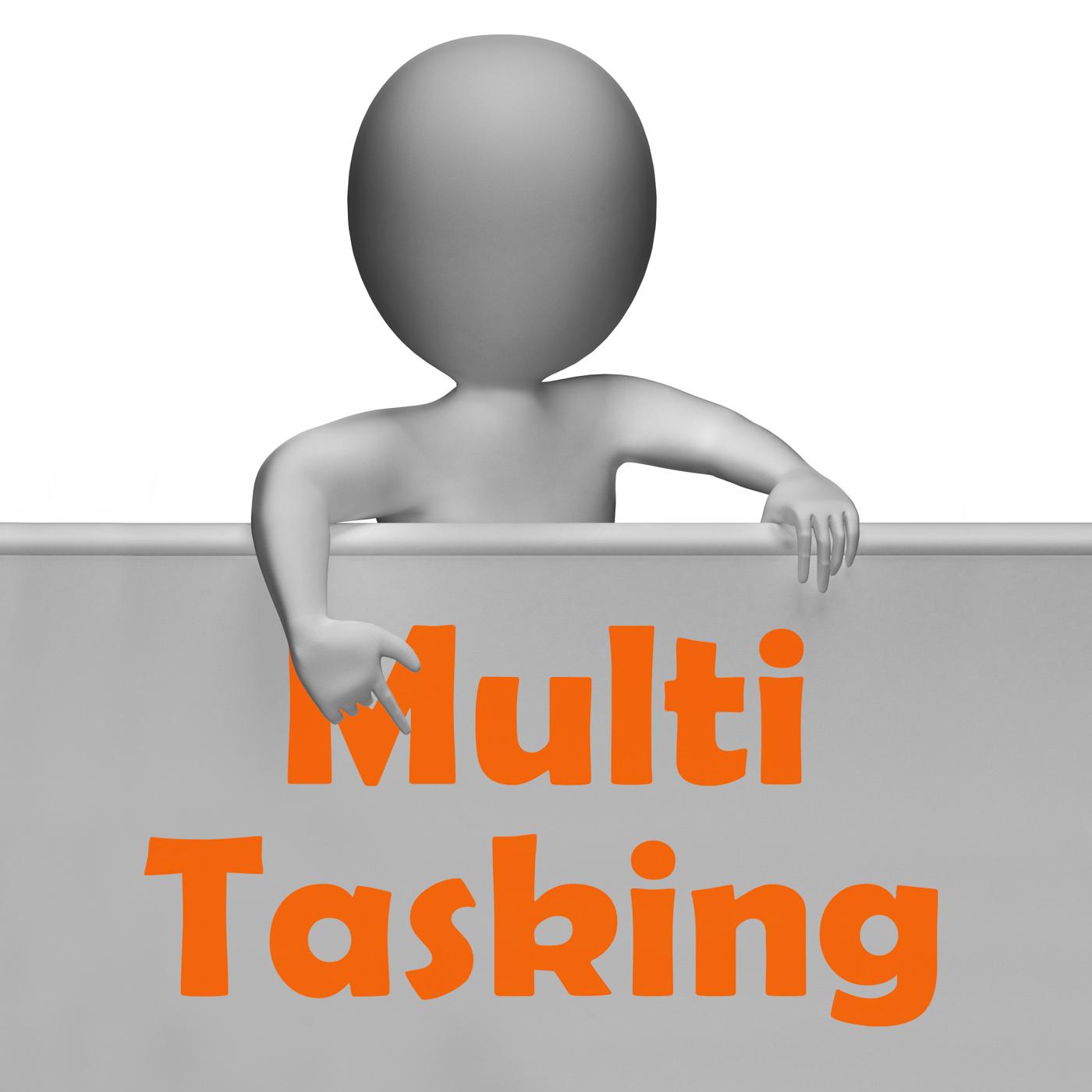 Multitasking sign means doing multiple tasks simultaneously photo