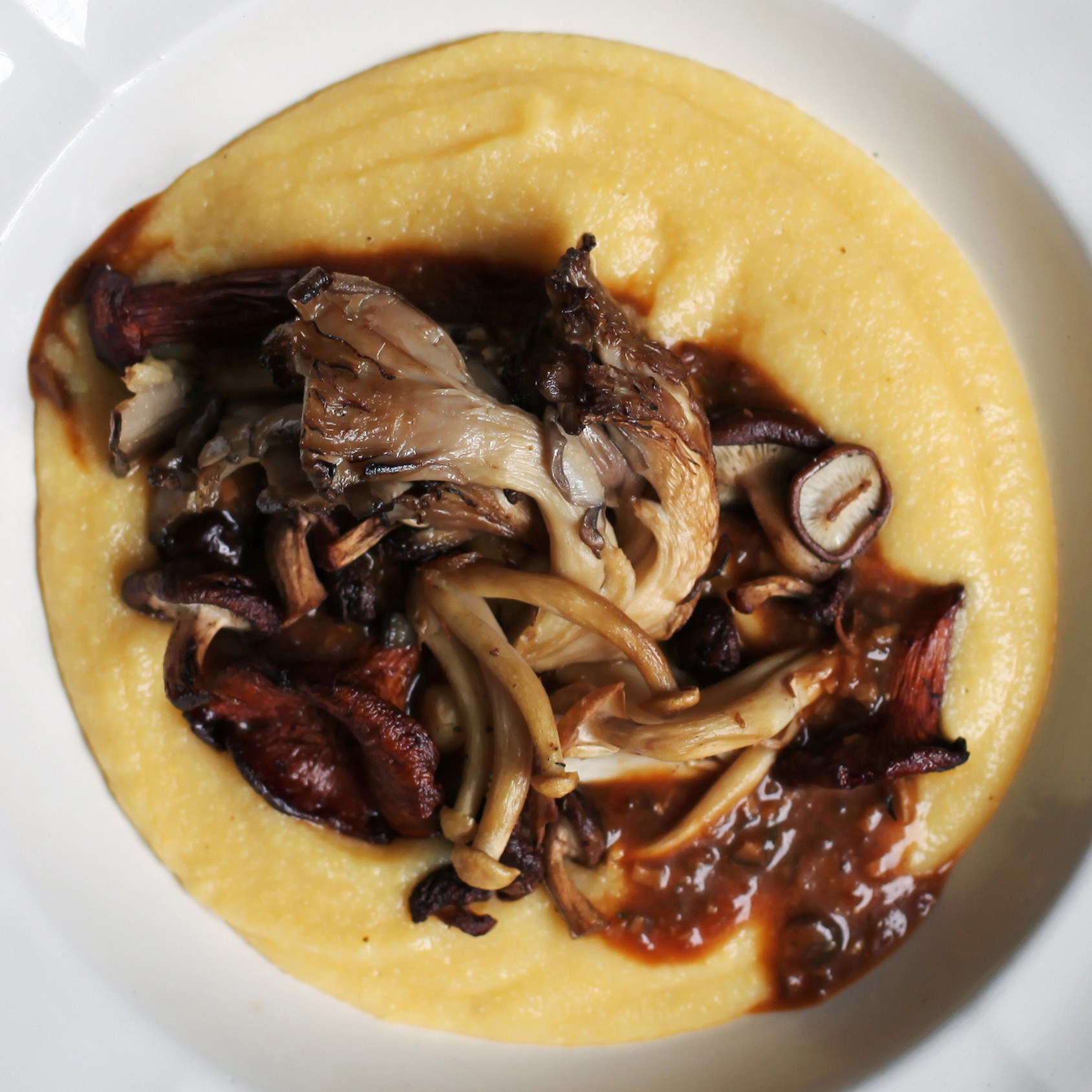 Wild Mushroom Polenta with Porcini Sauce recipe | Epicurious.com