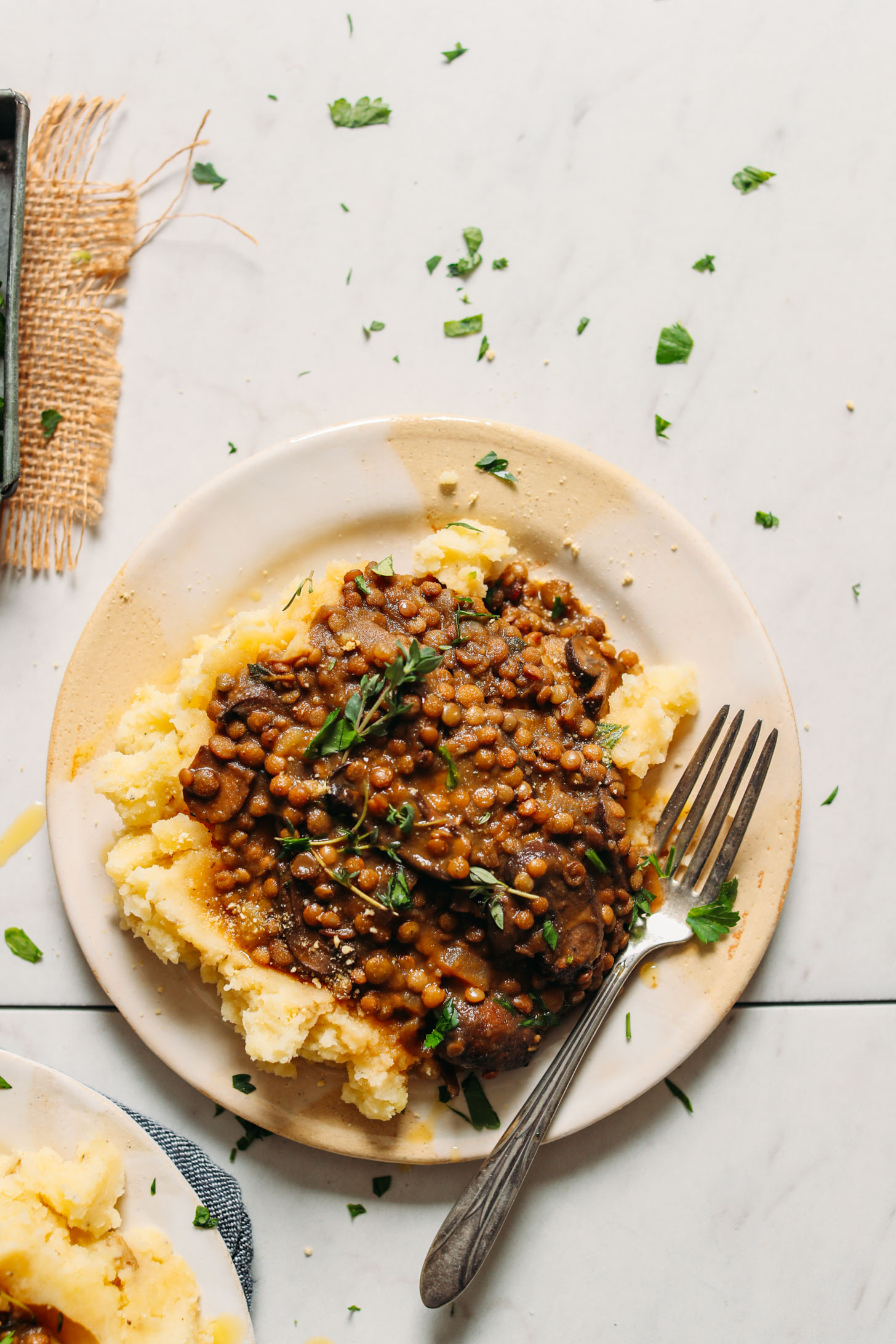 Mushroom Lentil Stew with Mashed Potatoes | Minimalist Baker Recipes