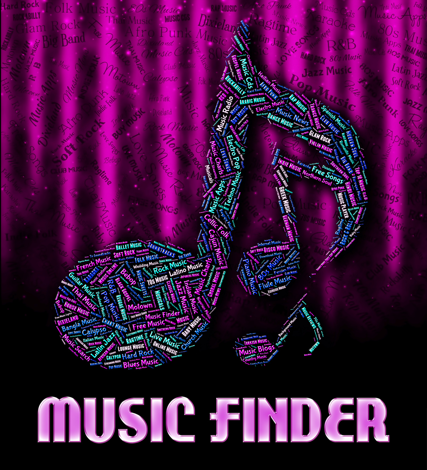 Music finder represents sound track and acoustic photo
