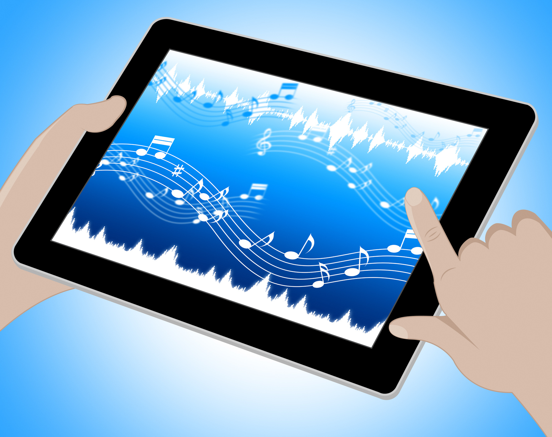 Music indicates soundtracks on tablet 3d illustration photo