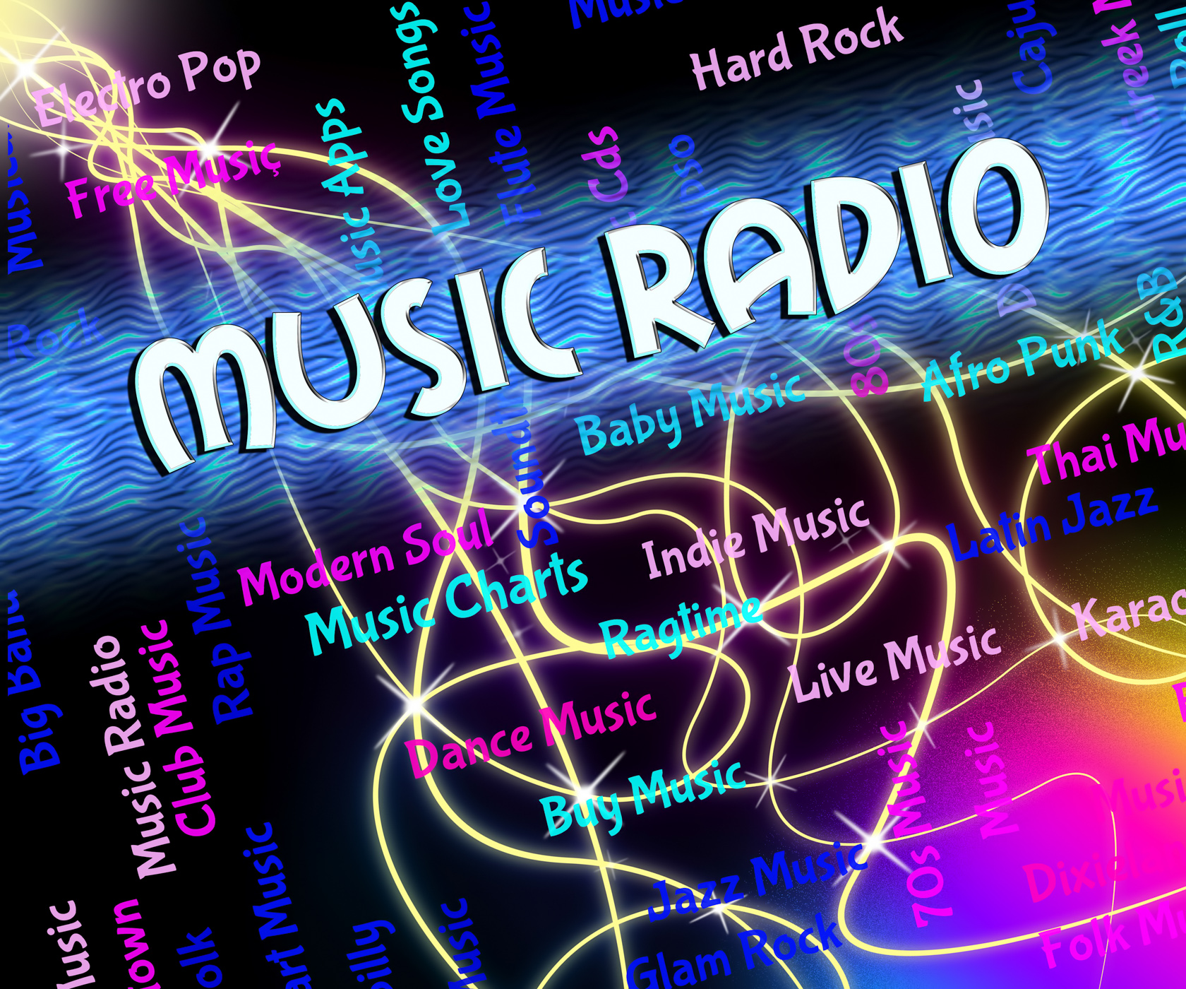 Music radio shows sound track and audio photo