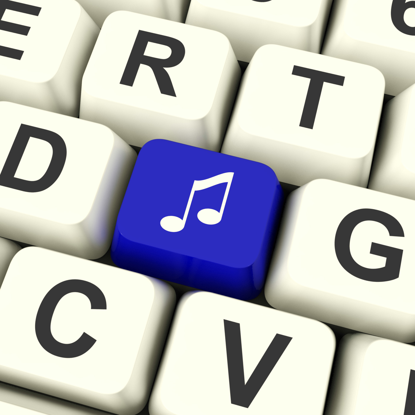 Music Symbol Computer Key In Blue Showing Online Audio Or Radio, Player, Play, Online, Note, HQ Photo