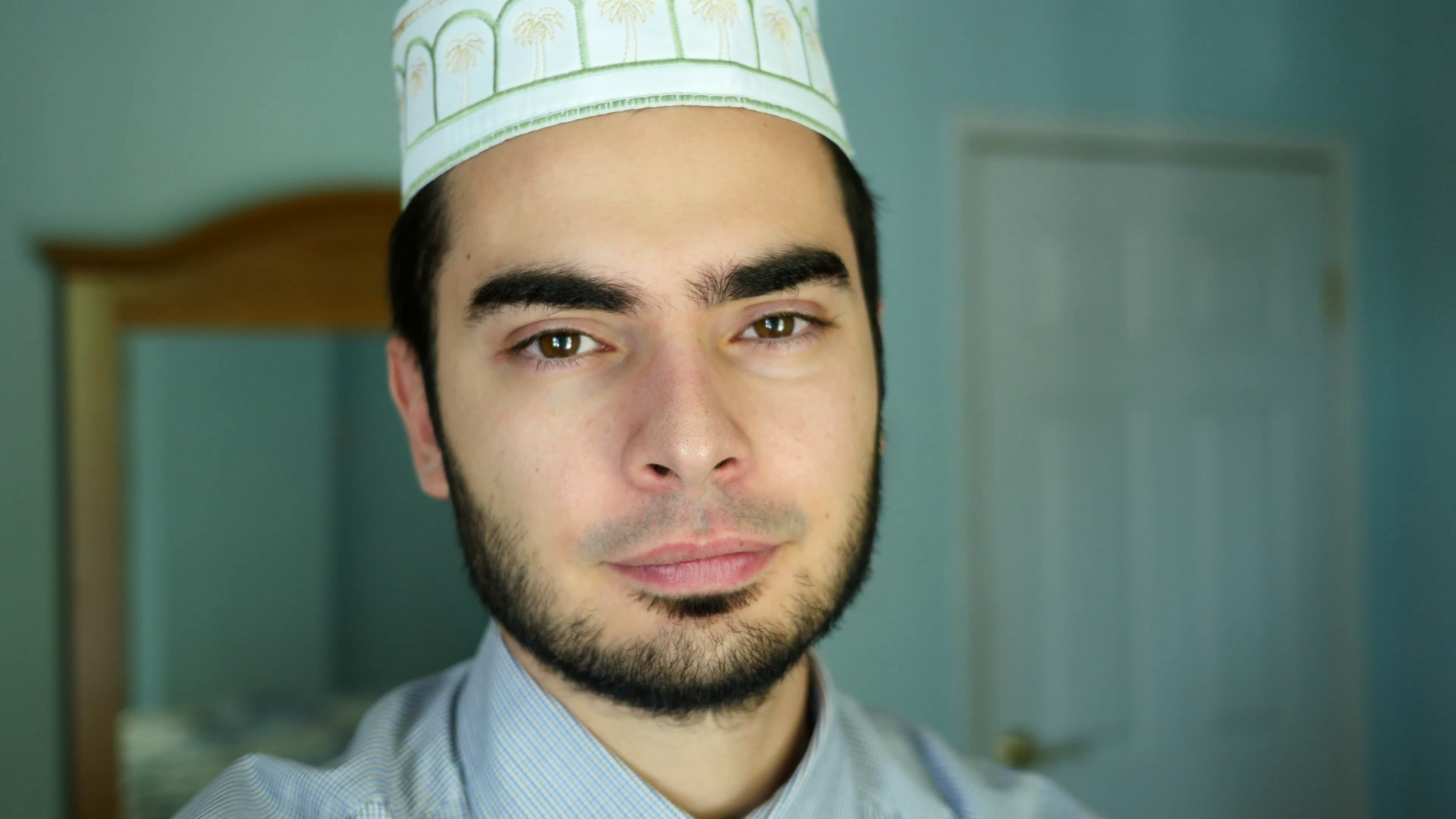 4K Arabic Muslim Man Portrait At Home Stock Video Footage - Videoblocks