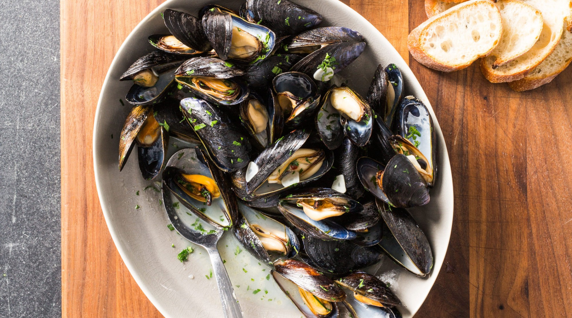 Mussels with White Wine and Garlic | The Splendid Table