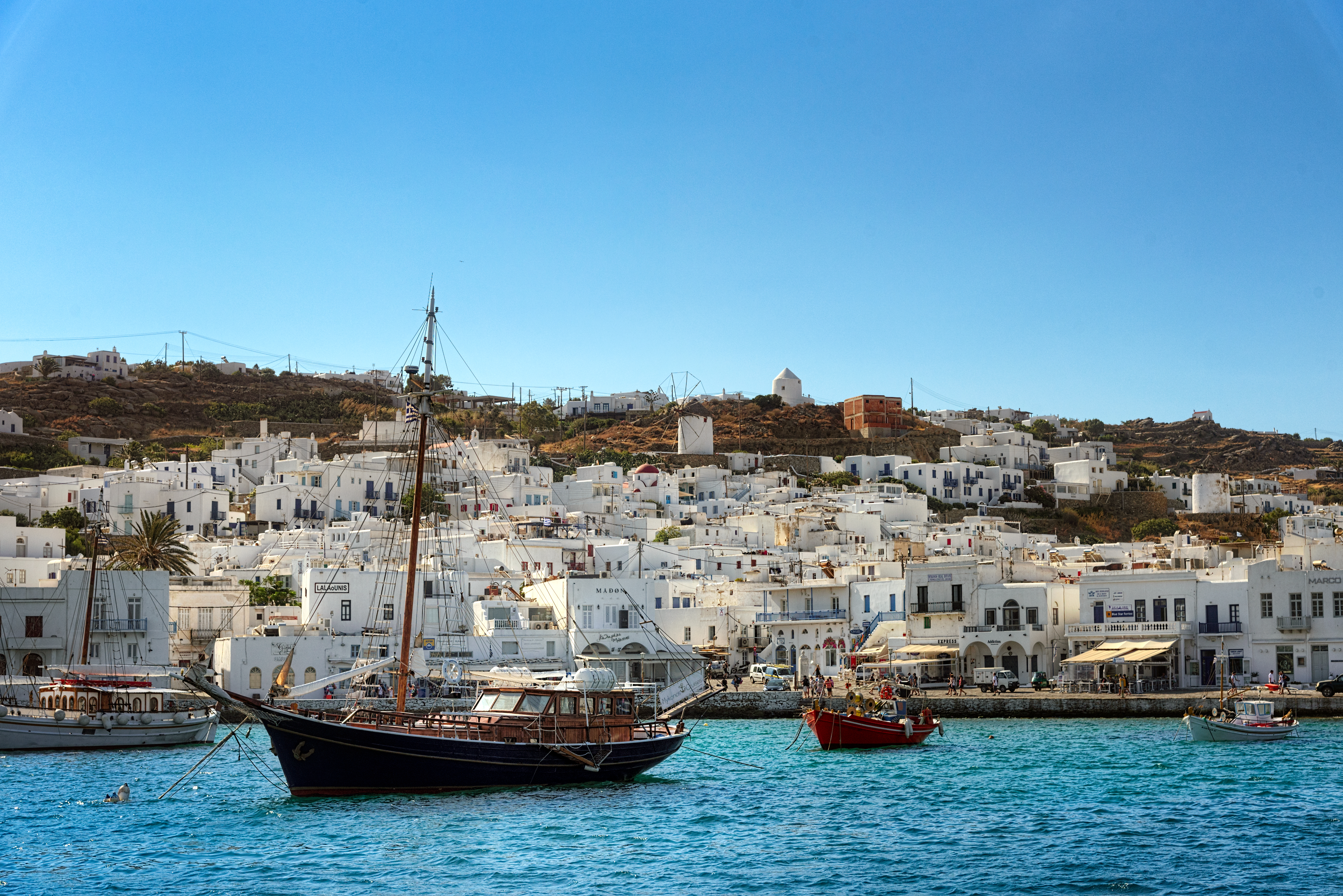 Mykonos harbour, greece photo