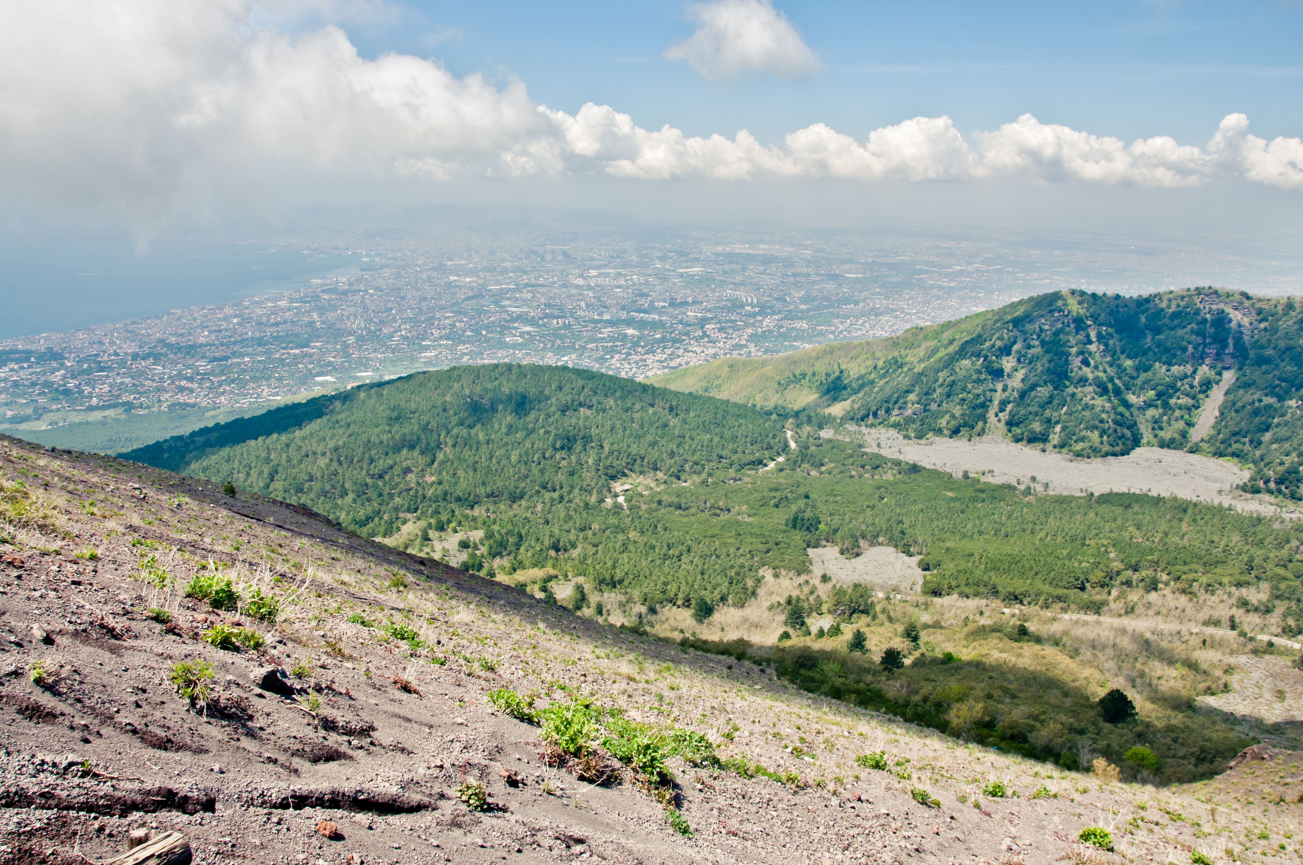 Naples View from Vesuvius volcano, Altitude, Sky, Nature, Panorama, HQ Photo