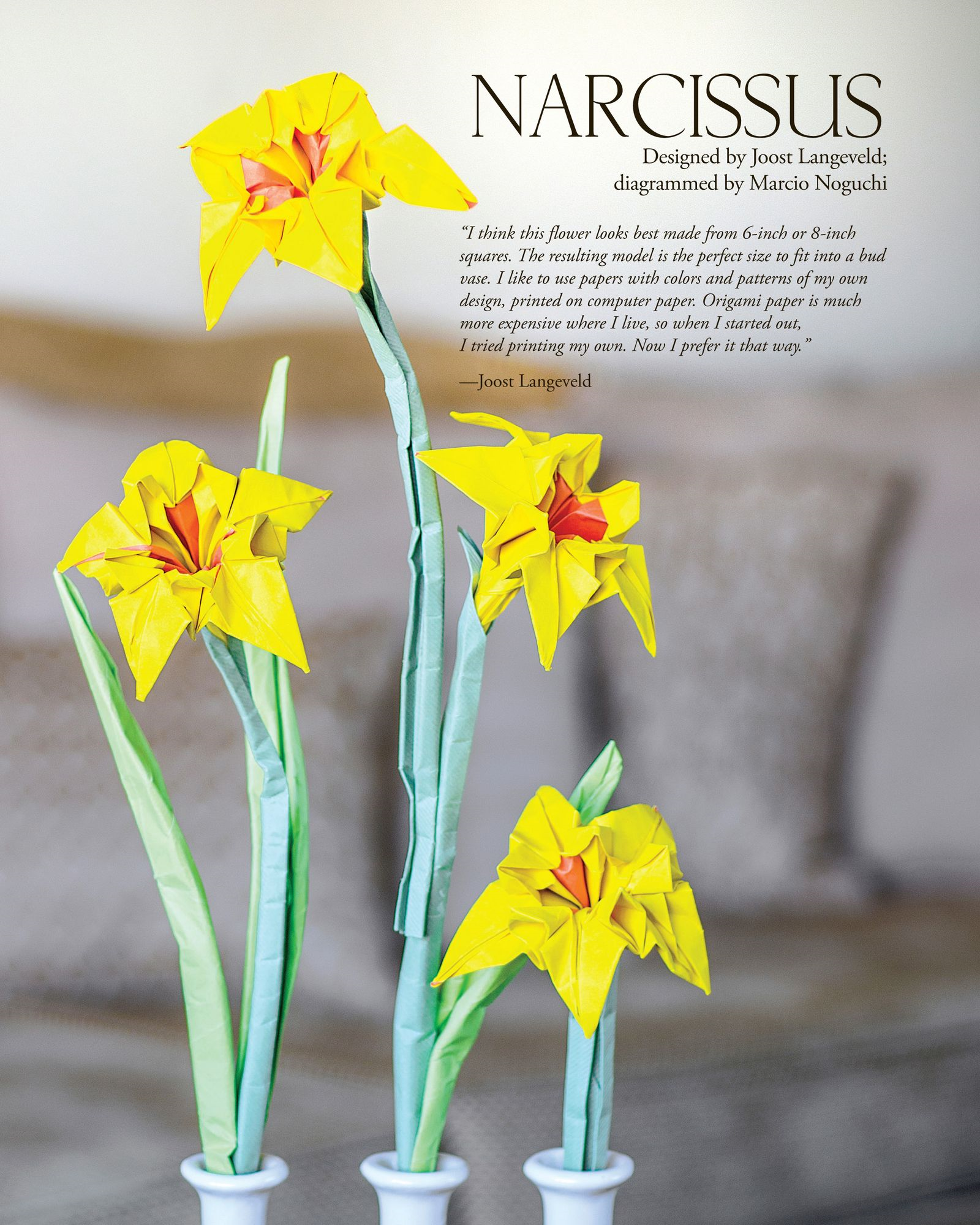 Craftside: Origami Narcissus from the book Origami Master Class Flowers