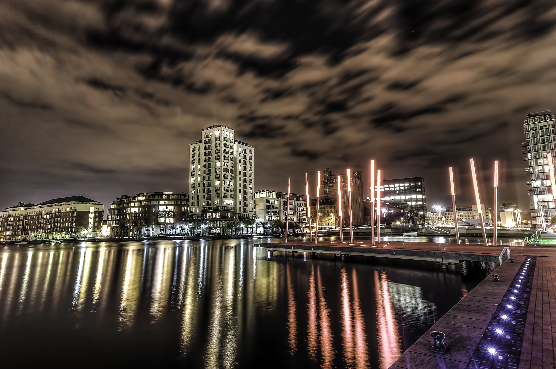 Grand Canal Dock in Dublin, Ireland. A photo taken at night an ...