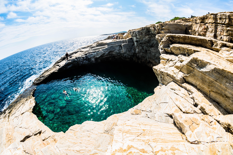 Natural pool - Giola, Cliff, Ocean, Rock, Sea, HQ Photo