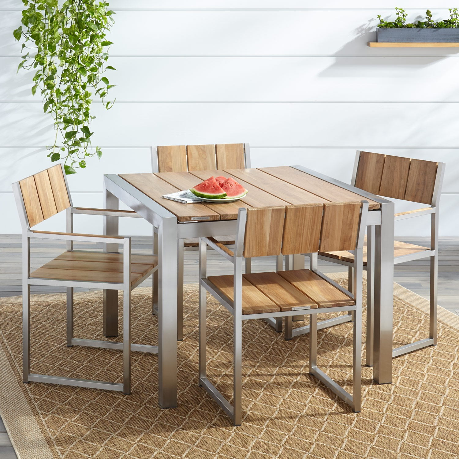 Macon 5-Piece Square Teak Outdoor Dining Table Set - Natural Teak ...