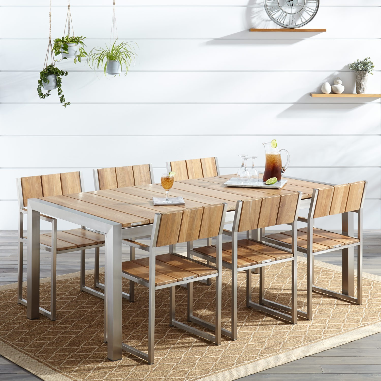 Macon 7-Piece Rectangular Teak Outdoor Dining Table Set - Natural ...