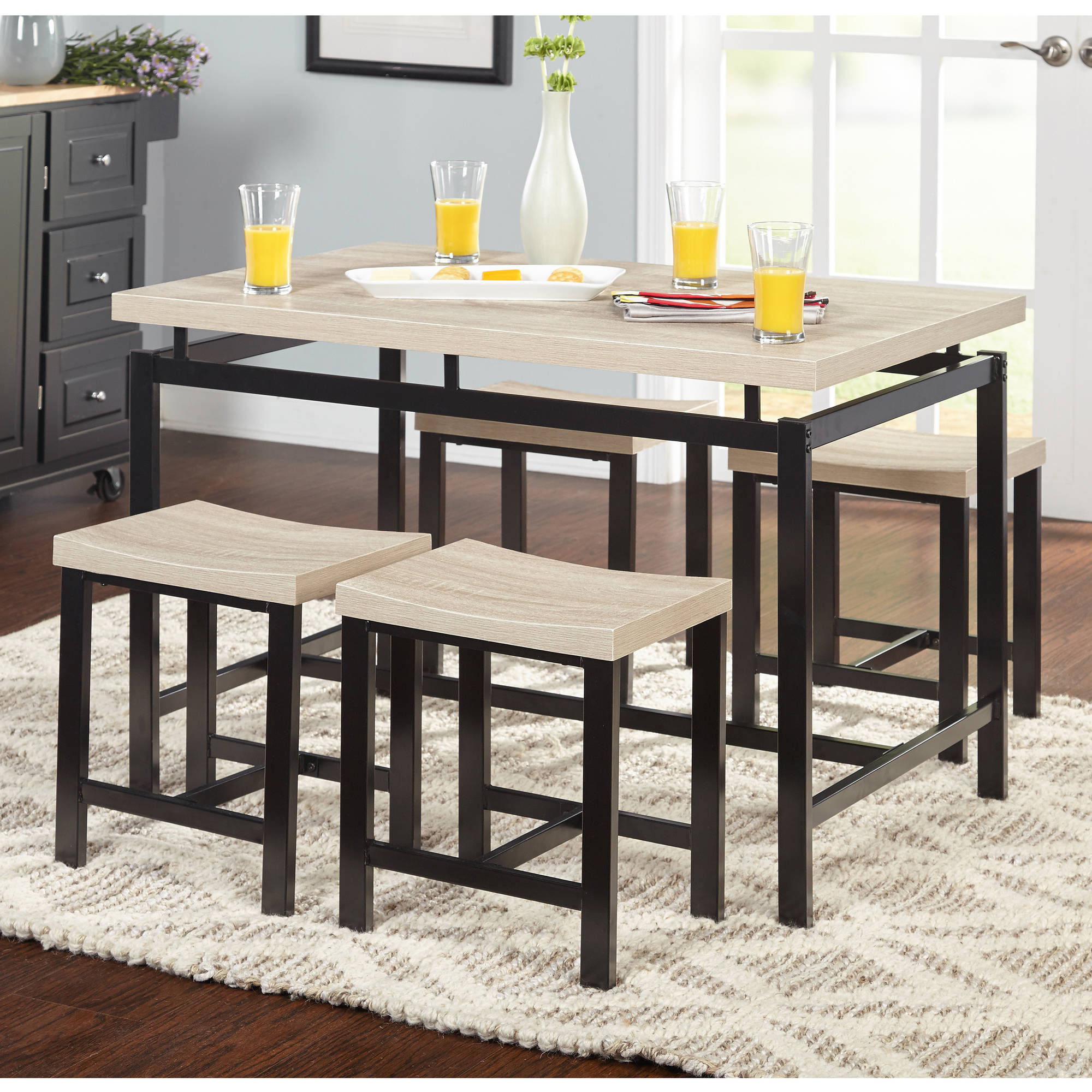 5-Piece Delano Dining Set, Natural - Walmart.com