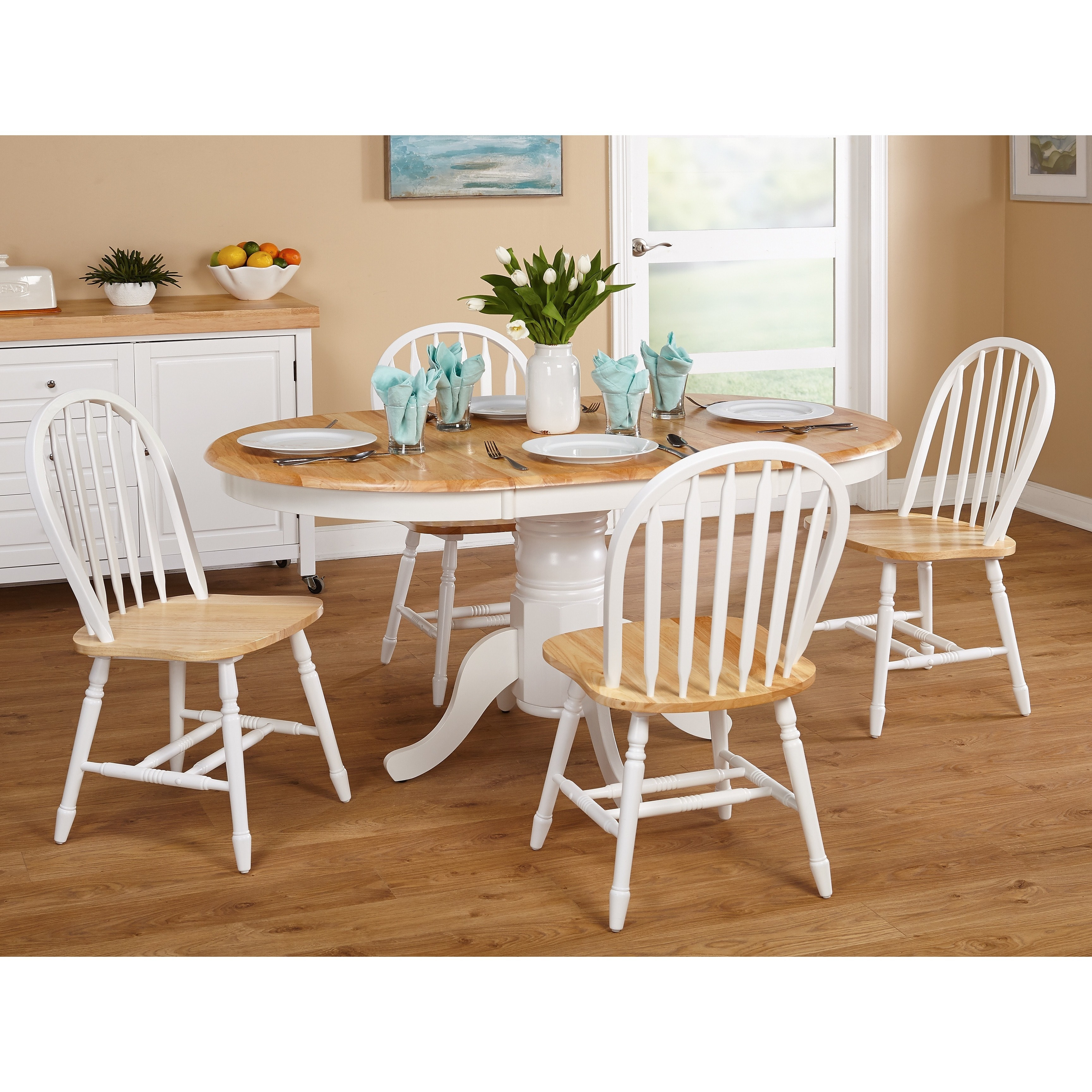 Simple Living Farmhouse 5 or 7-piece White/ Natural Dining Set ...