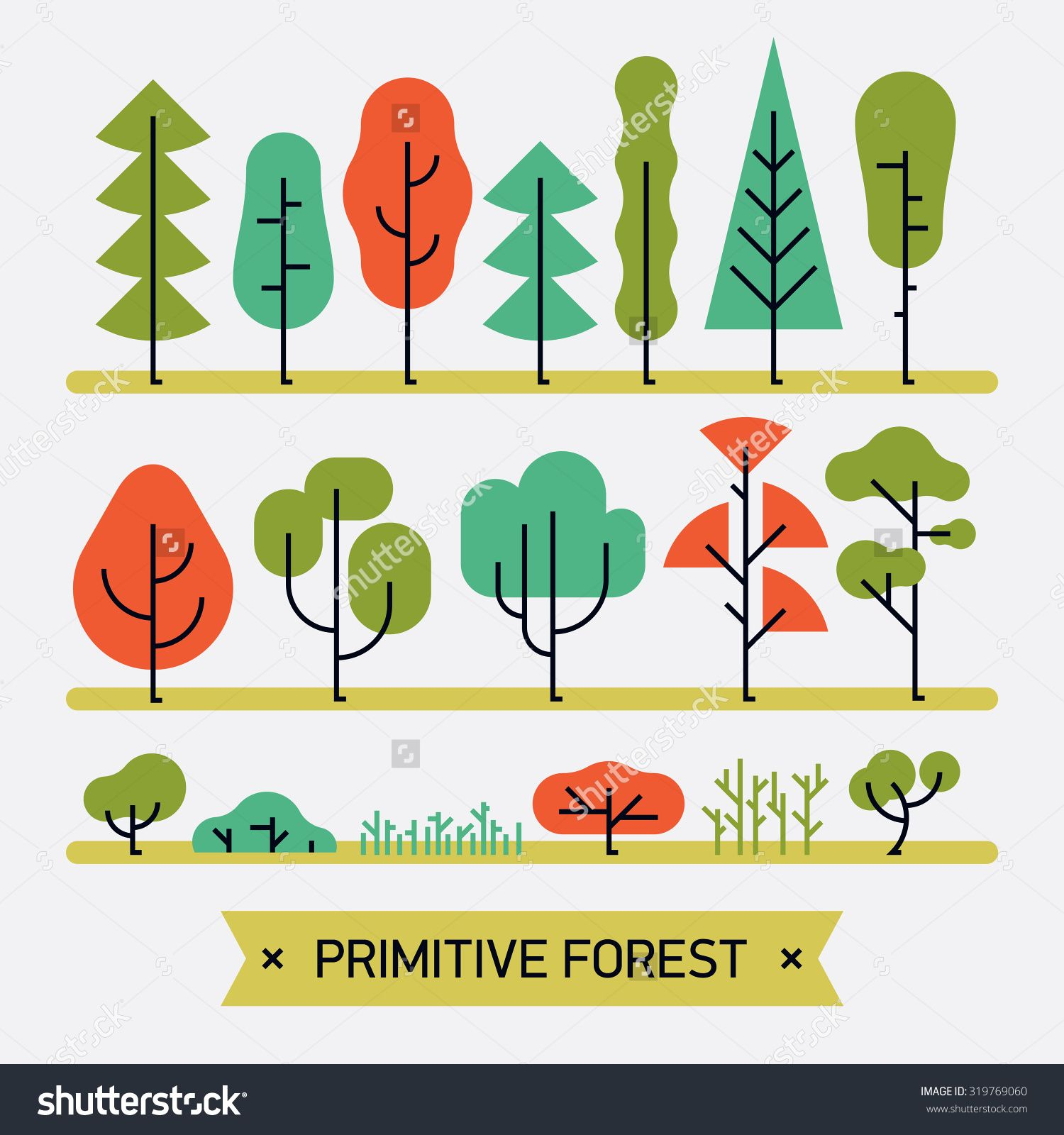 Beautiful And Simple Primitive Forms Flat Vector Forest Plats, Trees ...
