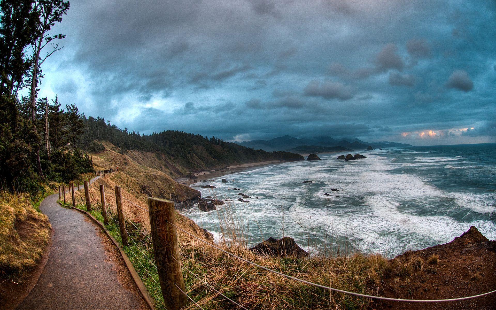 Sea Coast Path Near Ocean Ecola State Park Oregon 1920x1200 ...