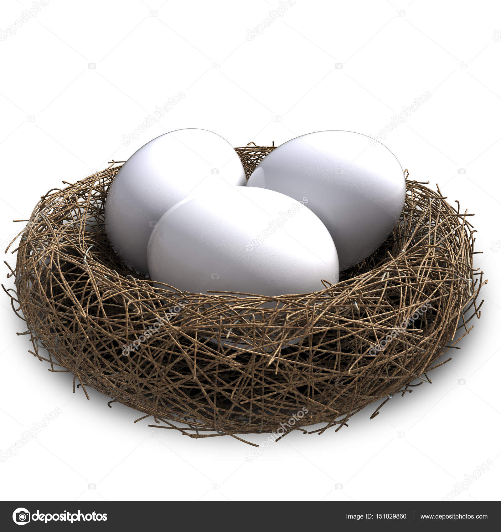 3D illustration of bird nest with eggs isolated. — Stock Photo ...
