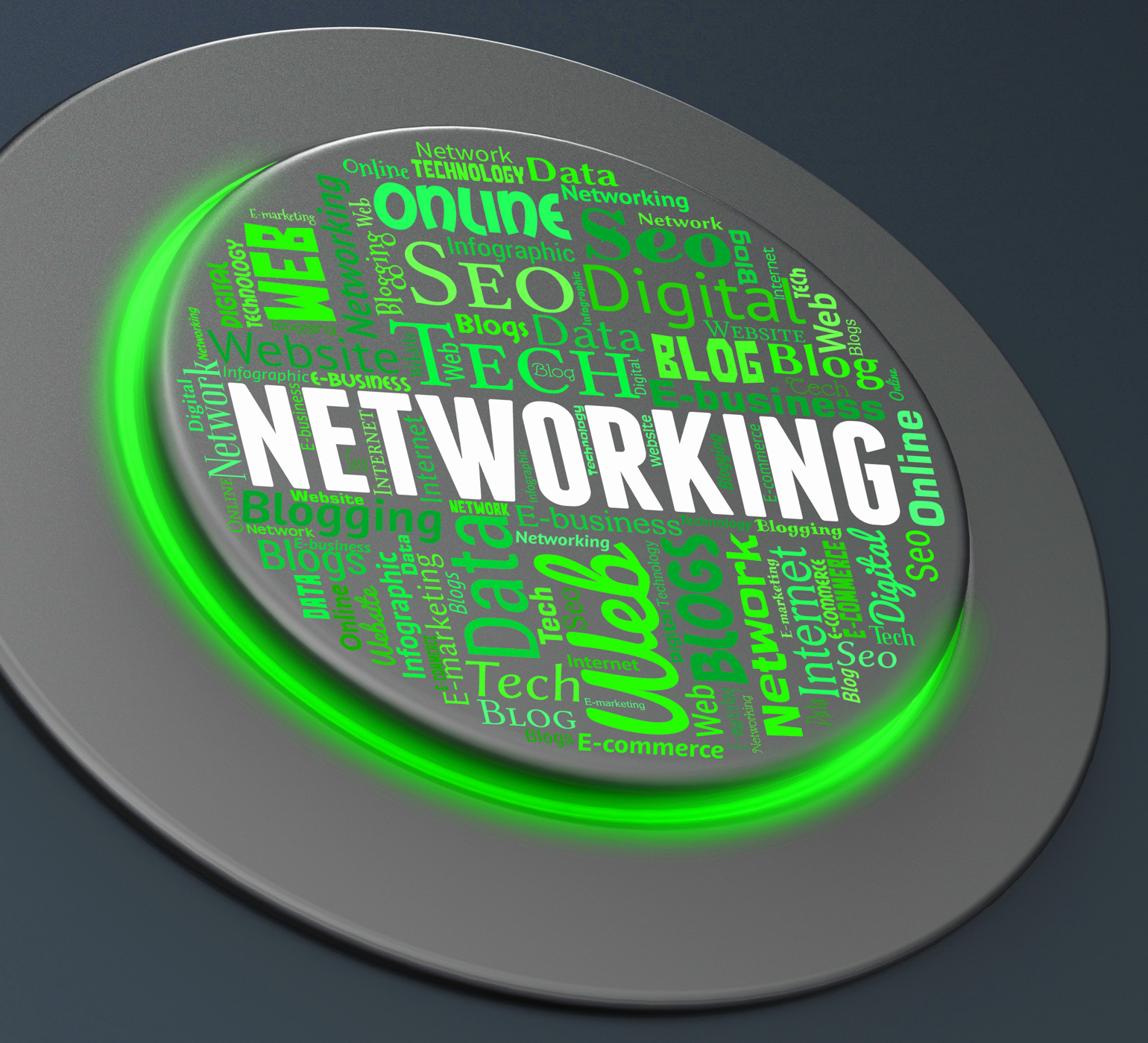 Networking button means global communications and computing photo