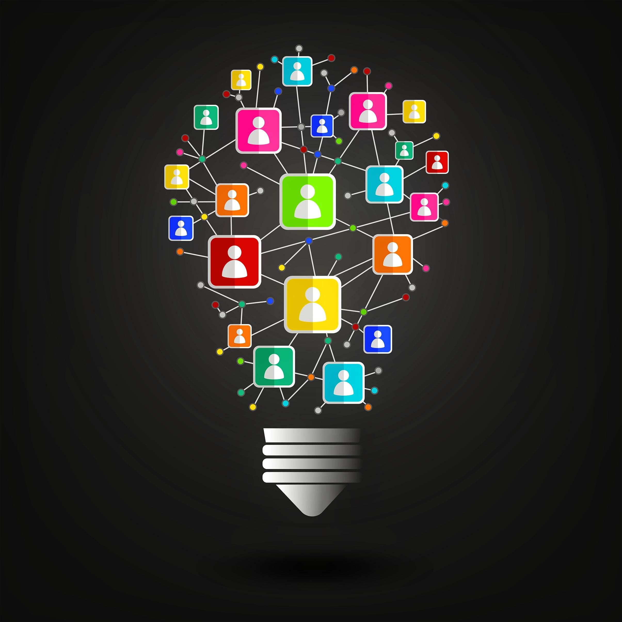 Networking Idea with Lightbulb, New, Presentation, Polygonal, Polygon, HQ Photo