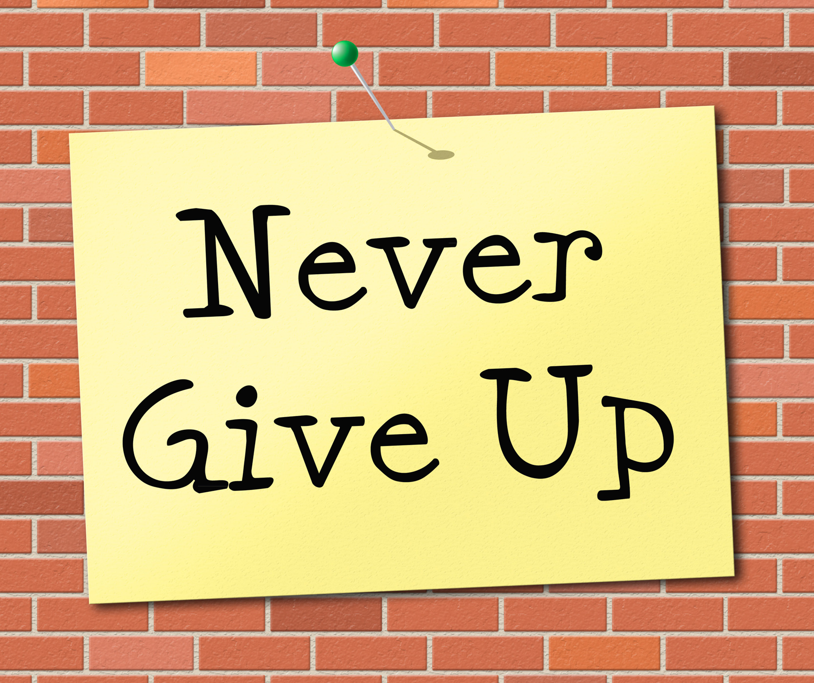 Never give up indicates motivating commitment and succeed photo