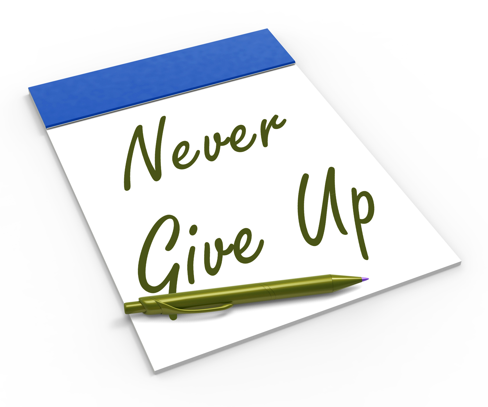 Never give up notebook means determination and motivation photo