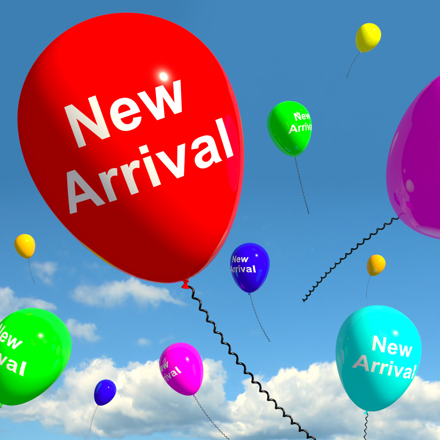 New arrival balloons in the sky showing latest product online or new b photo