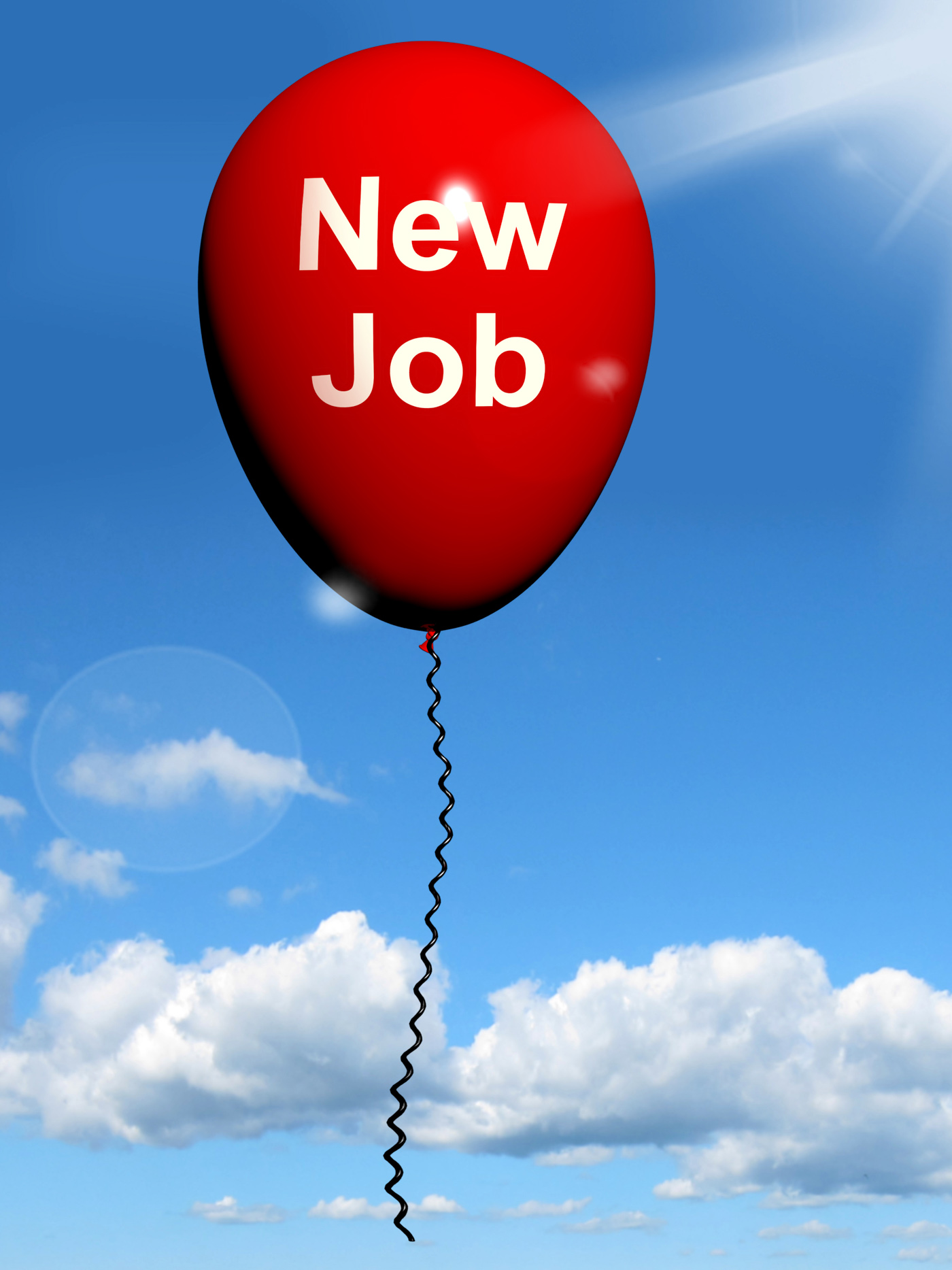 New job balloon shows new beginnings in careers photo