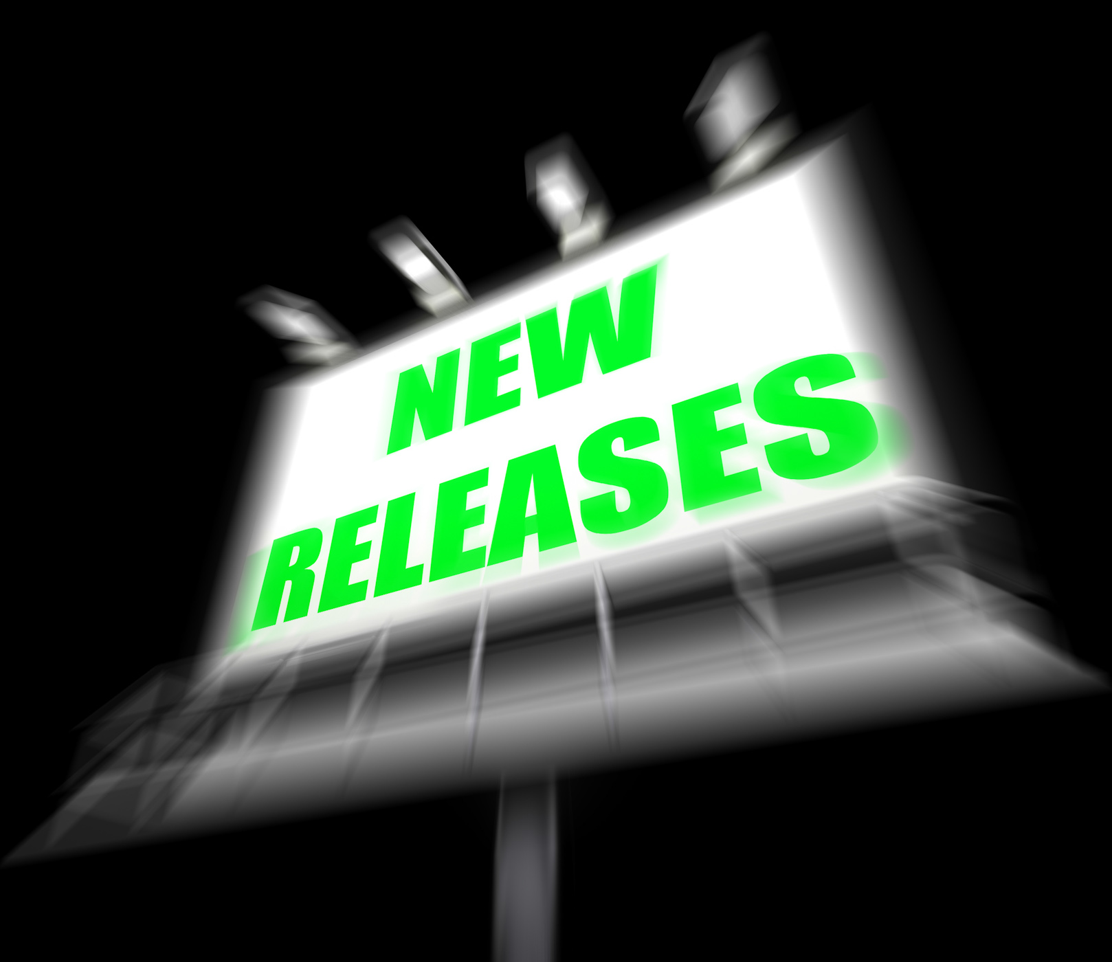 New releases sign displays now available or current product photo