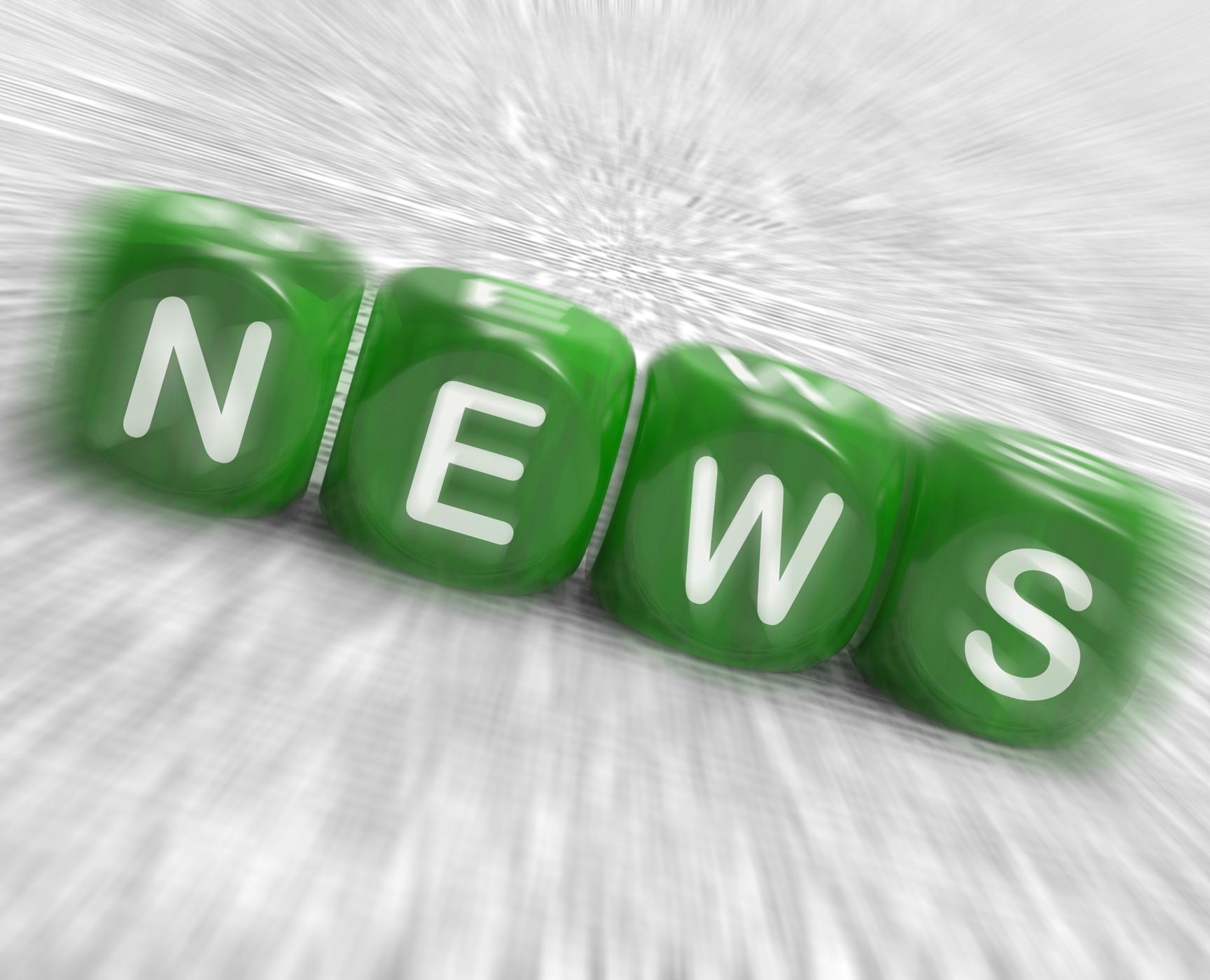 News dice displays reporting media and bulletin photo