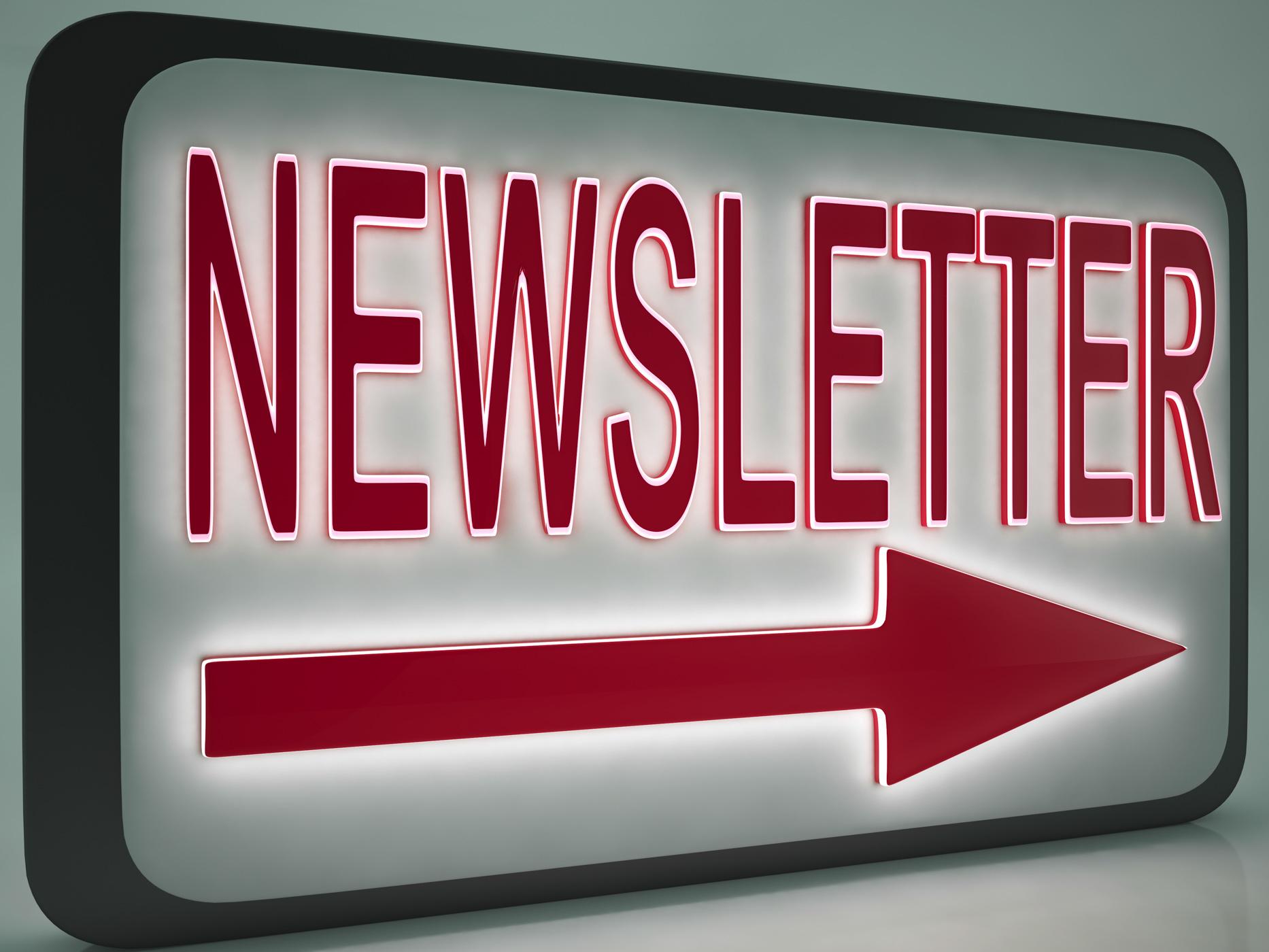 Newsletter sign shows online news photo