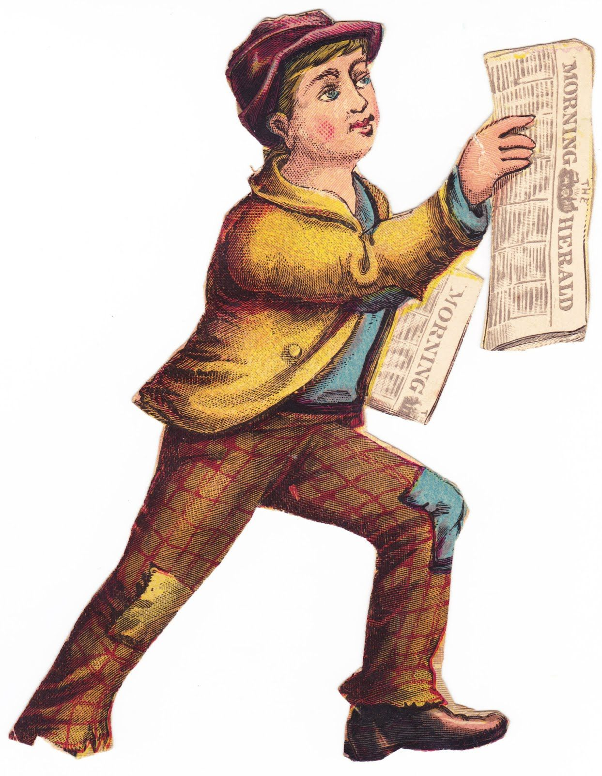 Newspaper Boy- probably a Victorian scrap - but I don't suppose poor ...