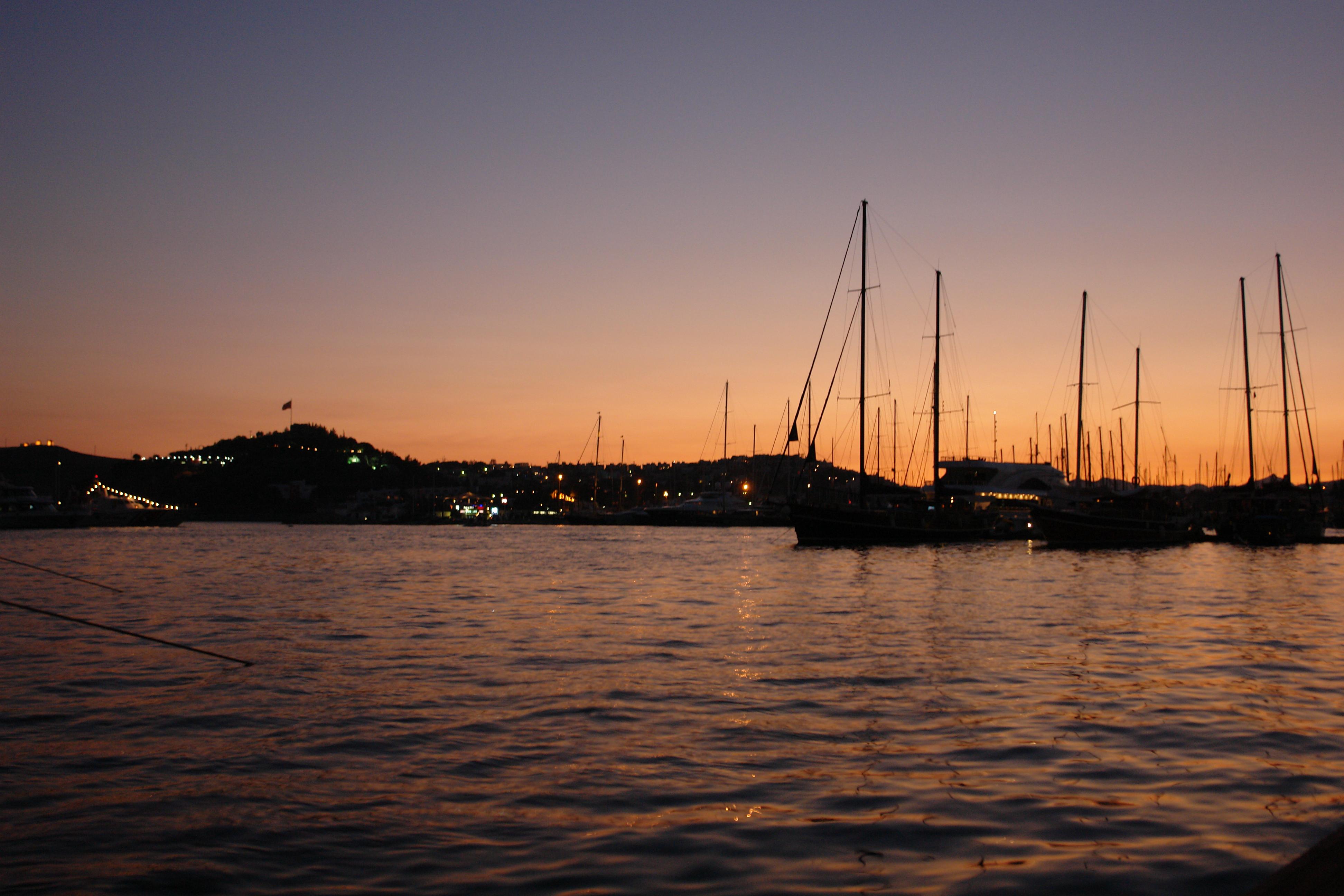 Night and sea, Boats, Coast, Landscape, Mast, HQ Photo
