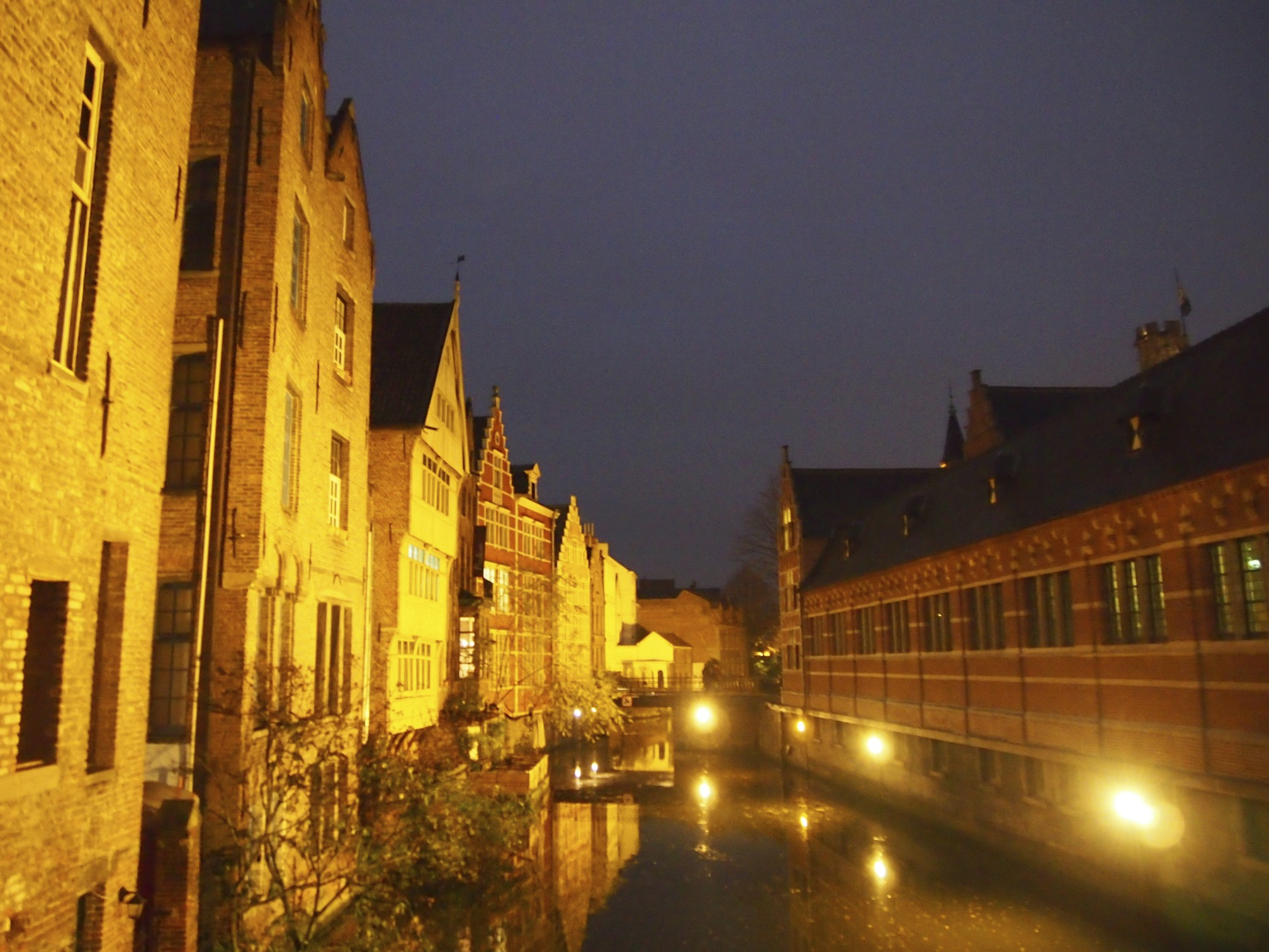 Night canal in ghent, belgium photo