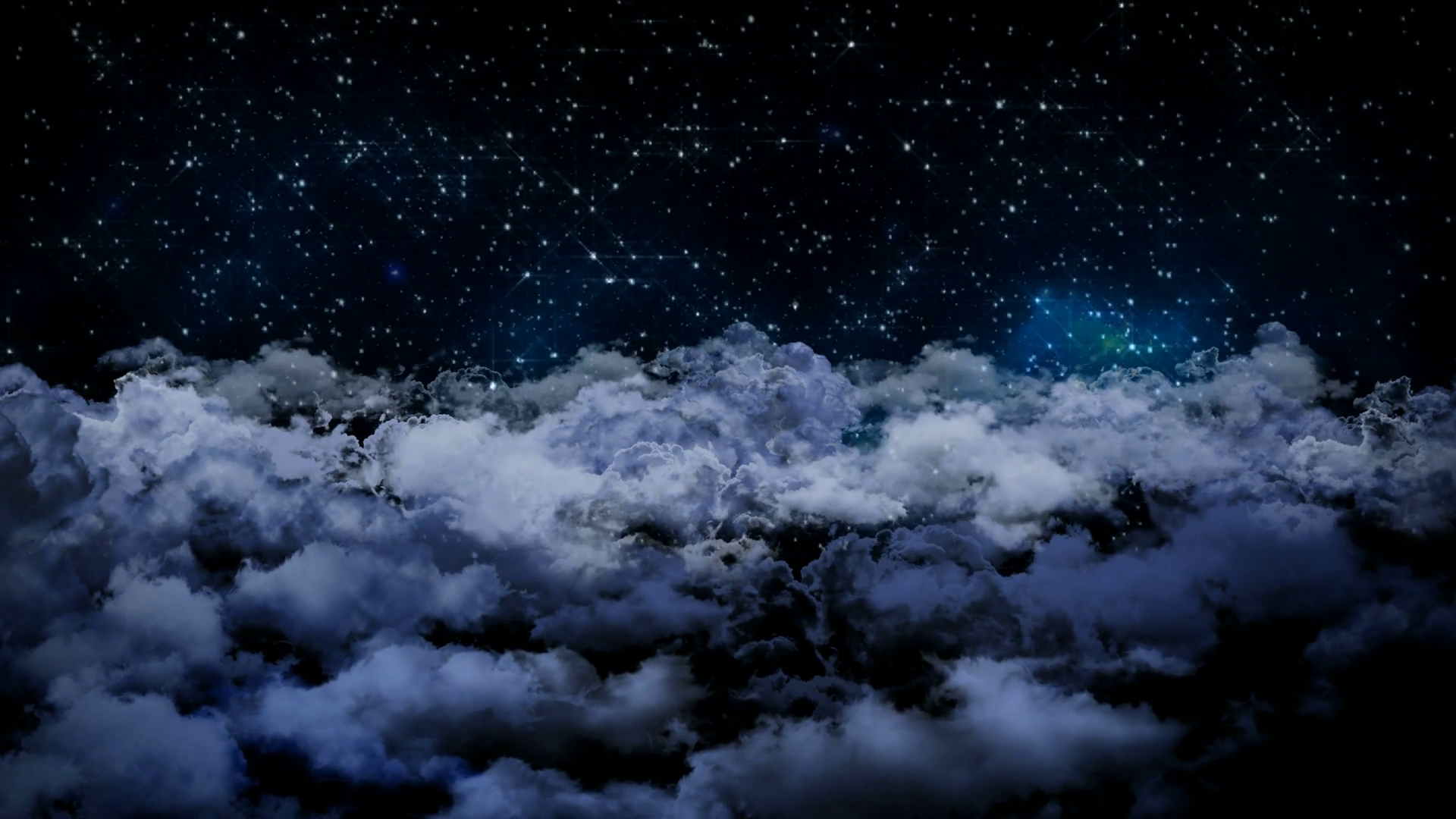 Seamless 3d animation of aerial view of cloudy night sky with clouds ...