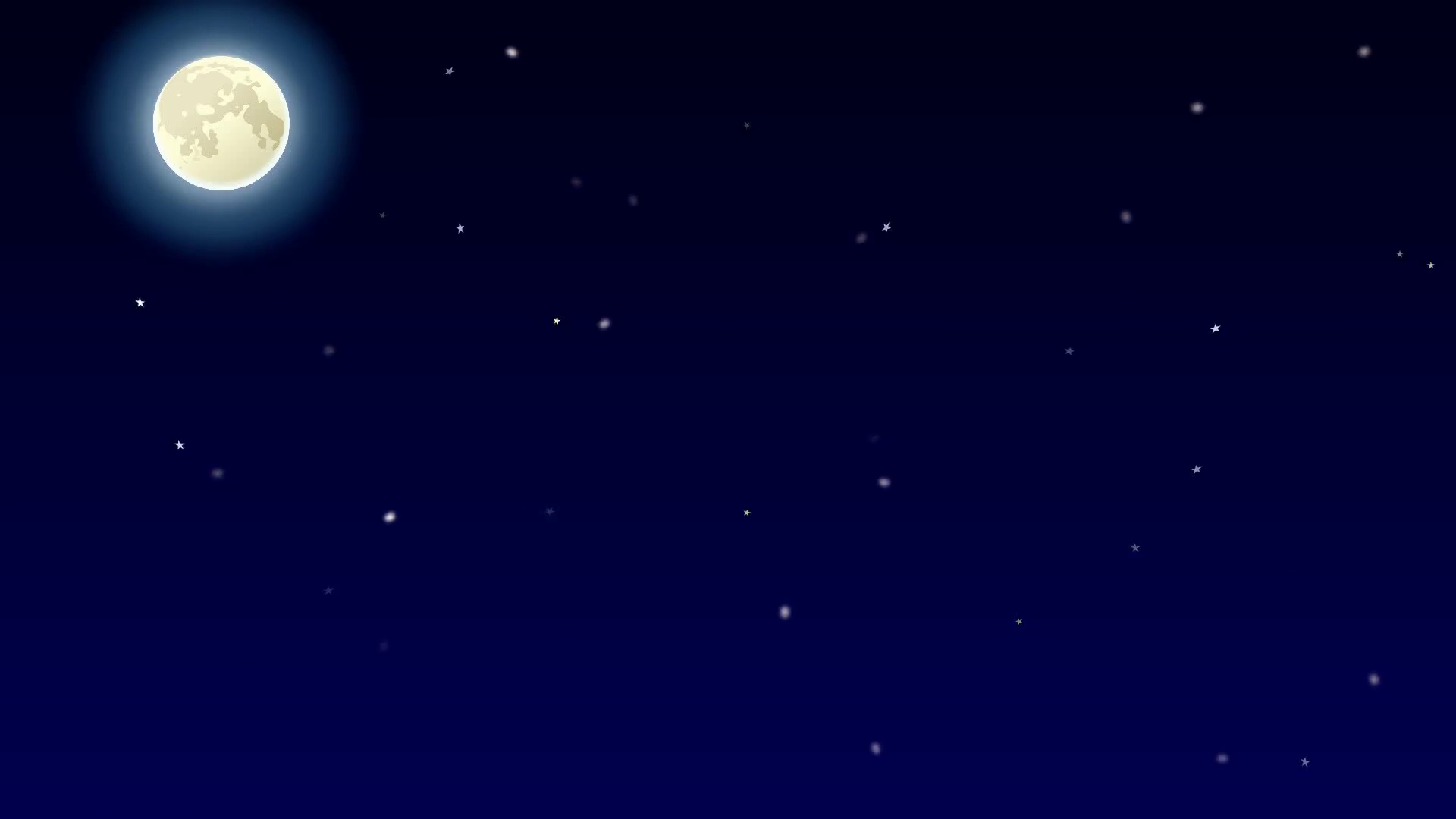 Night sky view with shining moon and blinking stars Motion ...