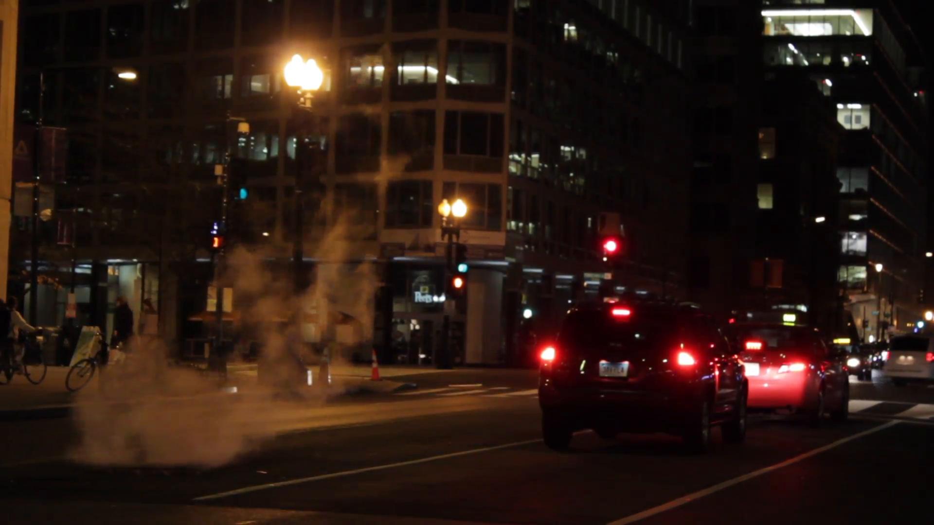 Street scene in Washington DC at night. Traffic and Pedestrians. (5 ...