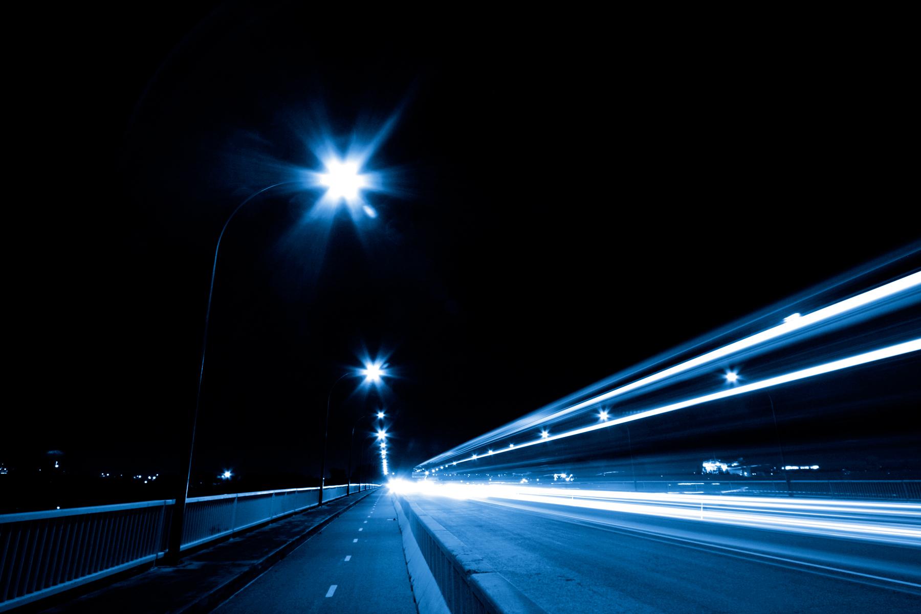 Night Traffic Scene, Abstract, Scene, Monotone, Photo, HQ Photo