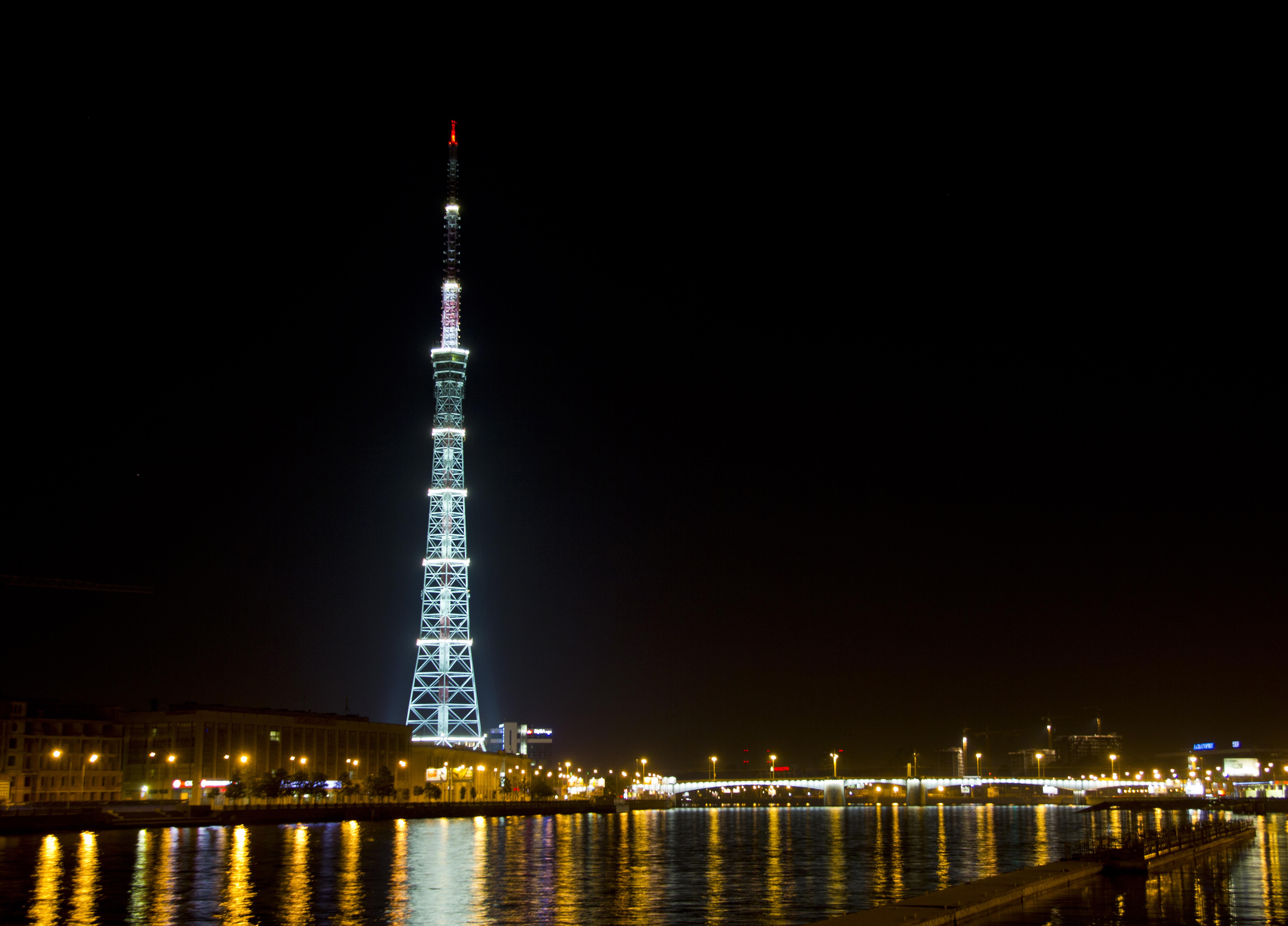 Night tv tower silhouette scene photo