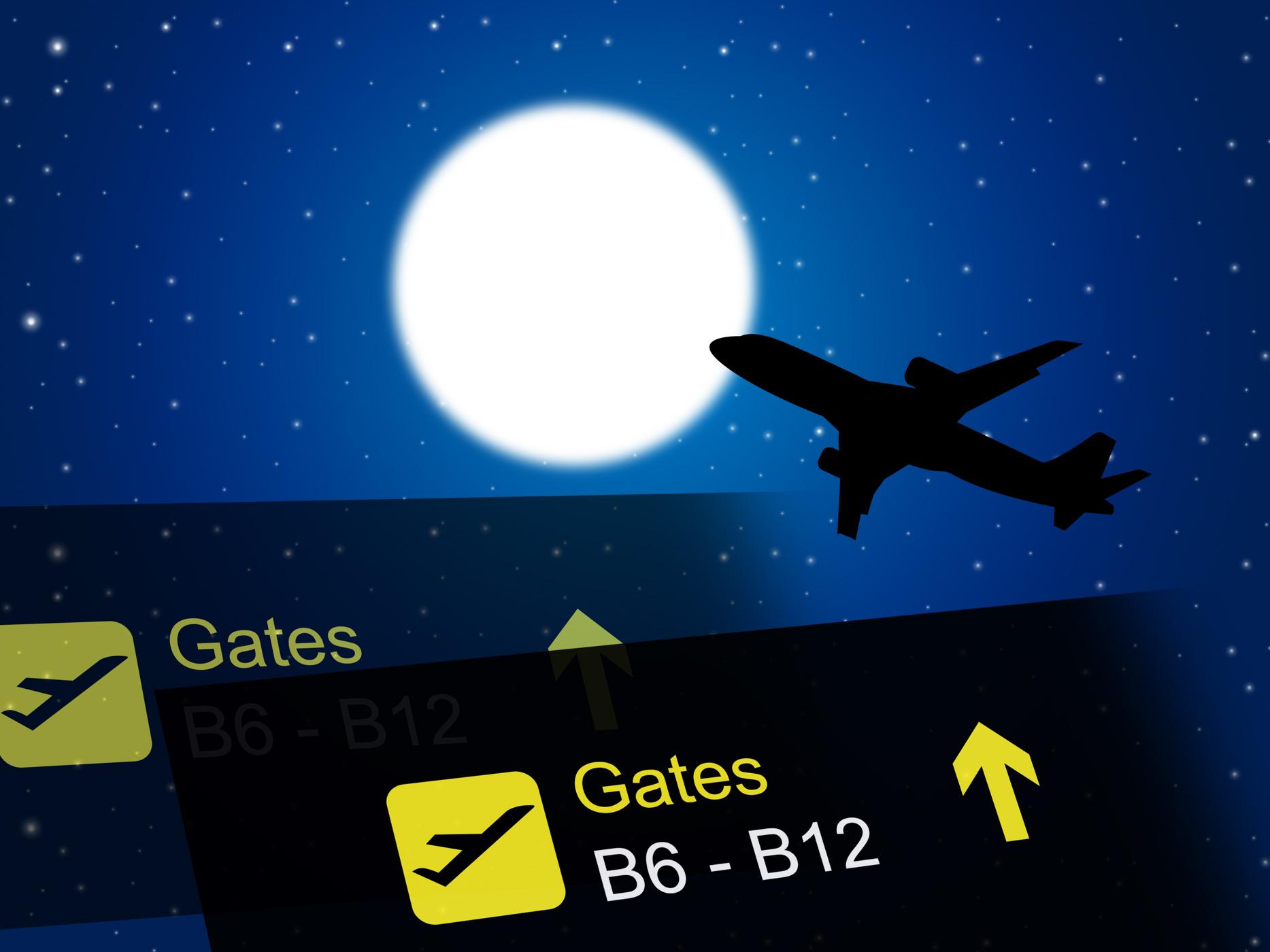 Nighttime flight shows global international and air photo
