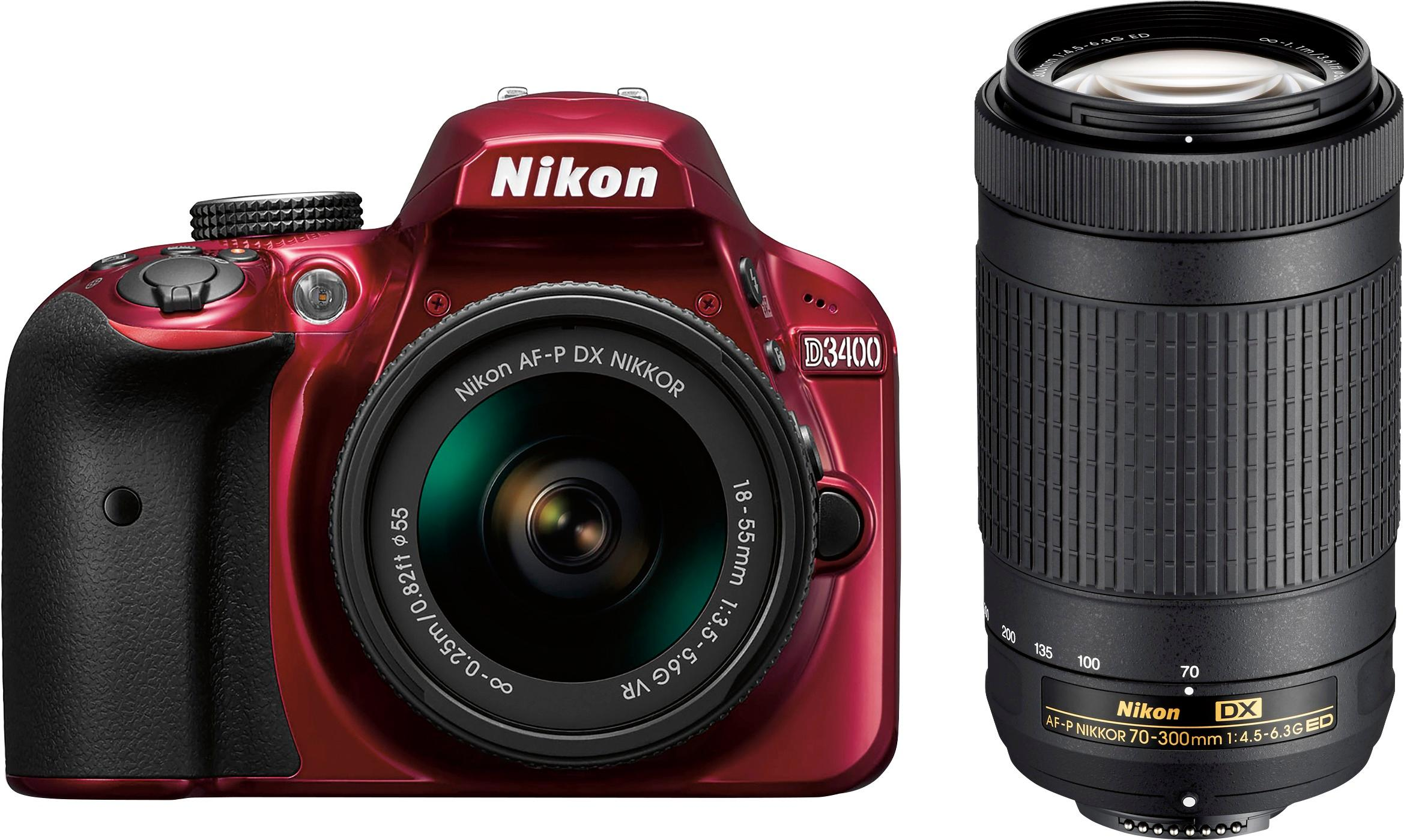 Nikon - D3400 DSLR Camera with AF-P DX 18-55mm G VR and 70-300mm ED ...