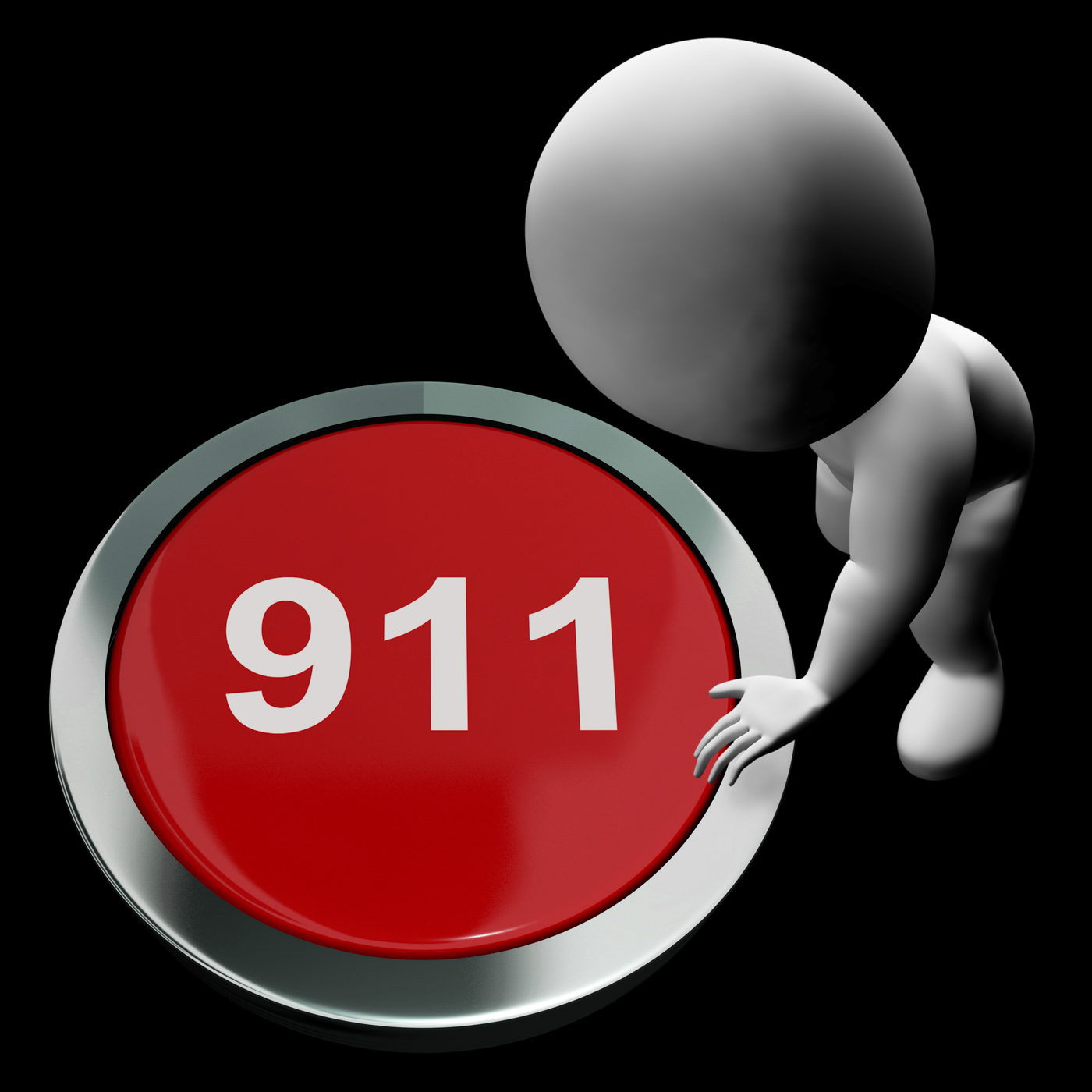 Nine one one button shows 911 emergency or crisis photo