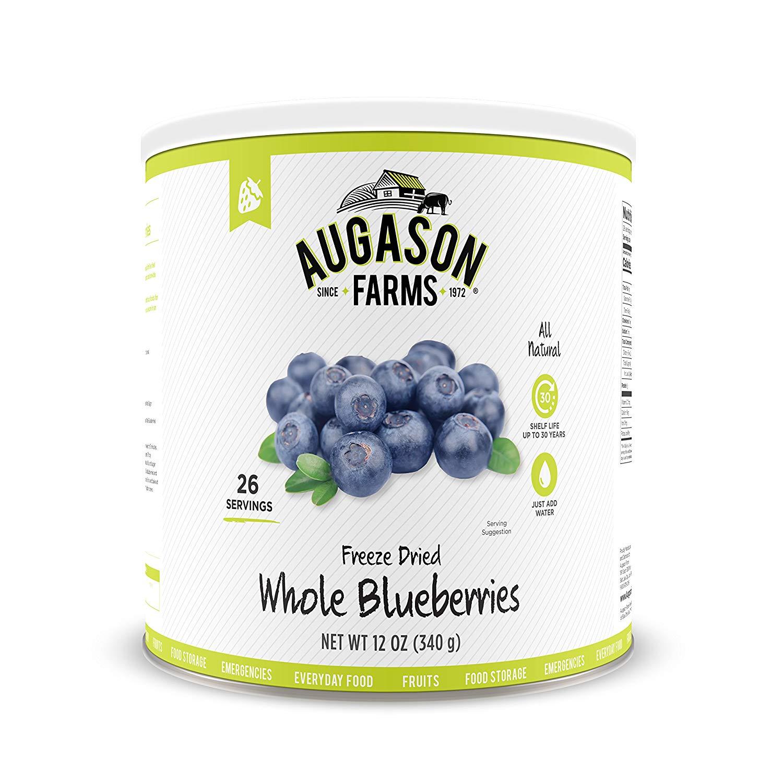 Amazon.com: Augason Farms Freeze Dried Whole Blueberries 12 oz No ...