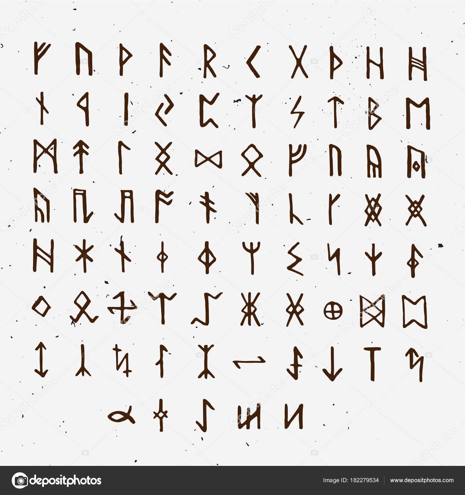 Set of Old Norse Scandinavian runes. Runic alphabet, futhark ...