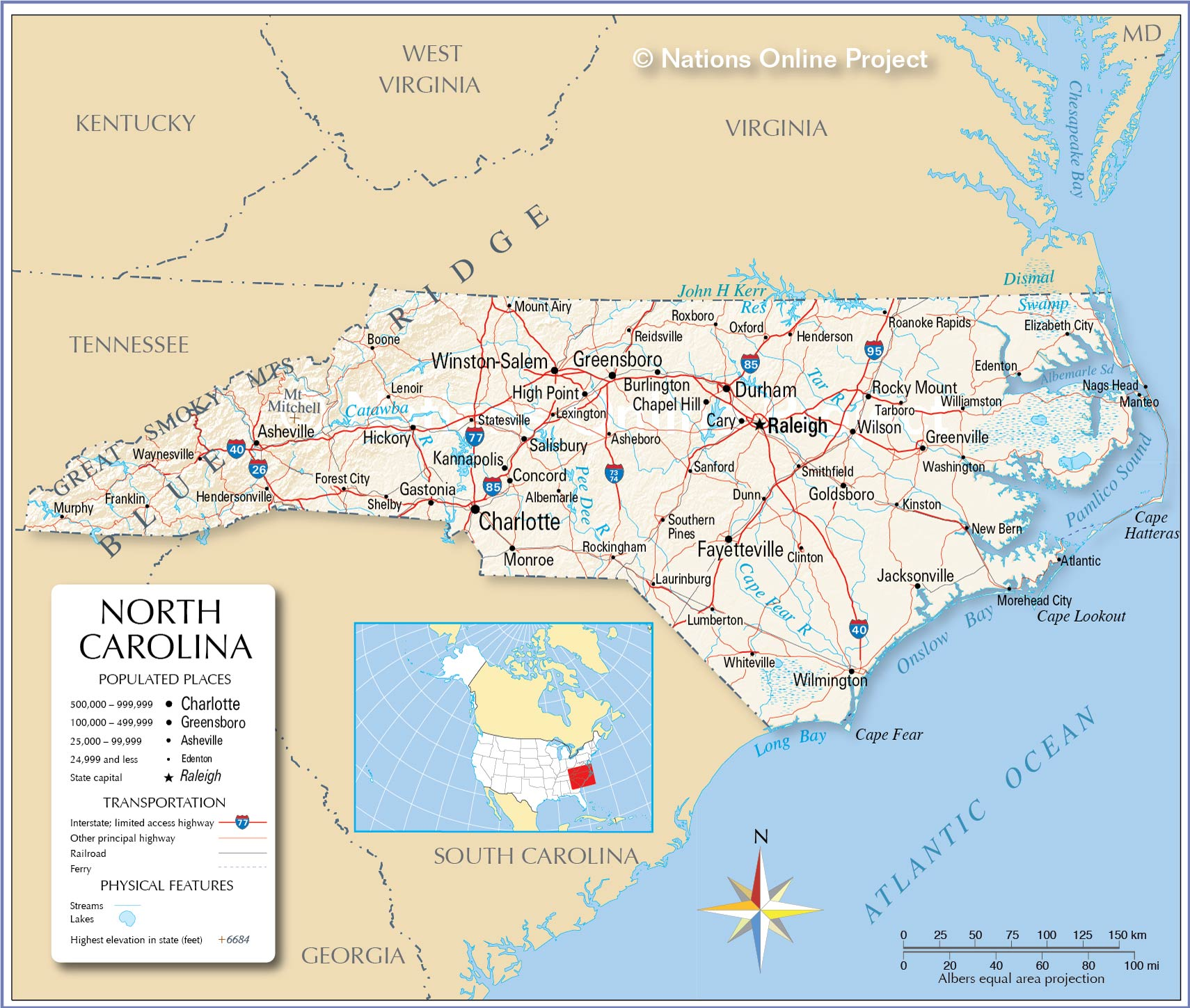 Reference Maps of North Carolina, USA - Nations Online Project