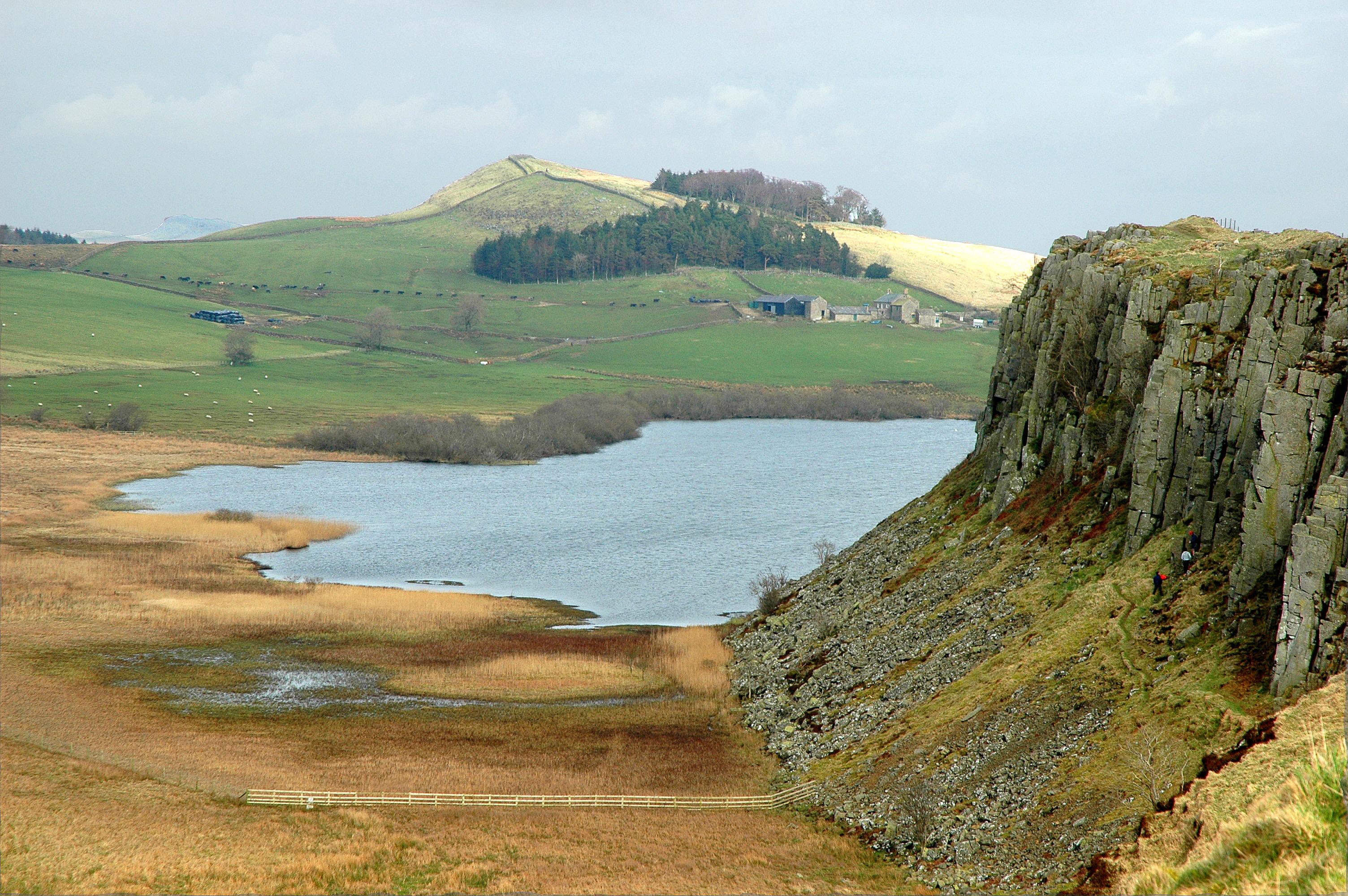 Northumberland, Cliff, Cottage, Lake, Landscape, HQ Photo