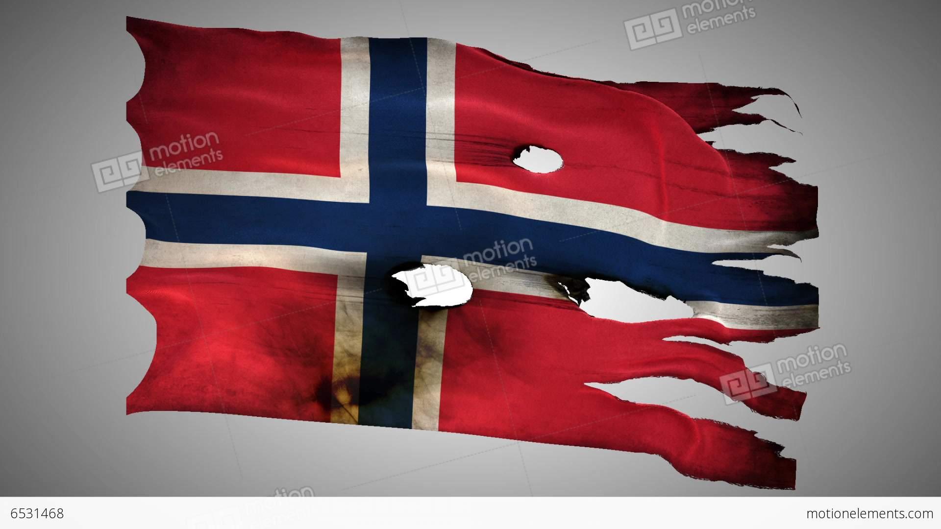 Norwegian Perforated, Burned, Grunge Waving Flag L Stock video ...