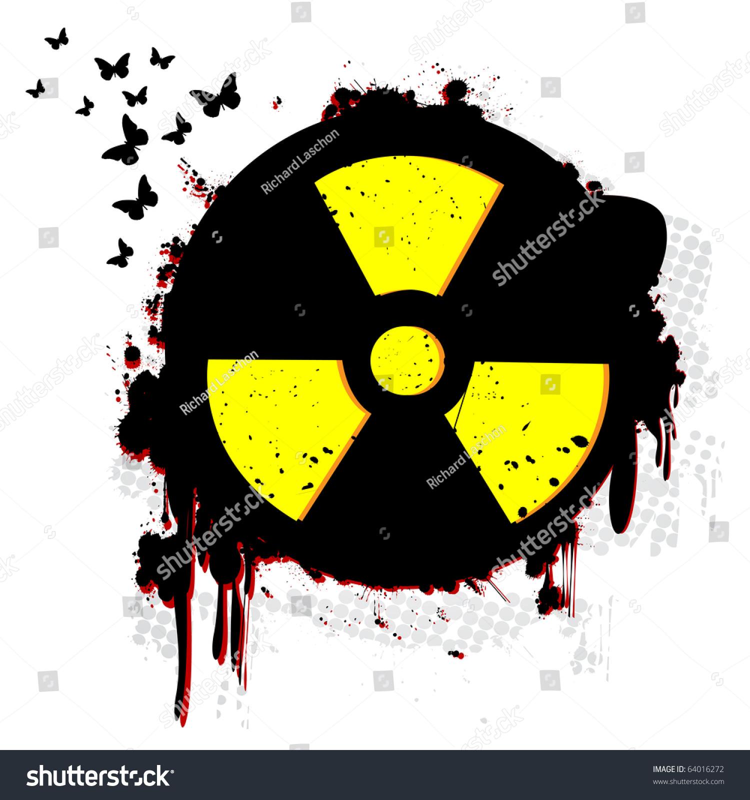 Nuclear Hazard Grunge Symbol Over White Stock Illustration 64016272 ...
