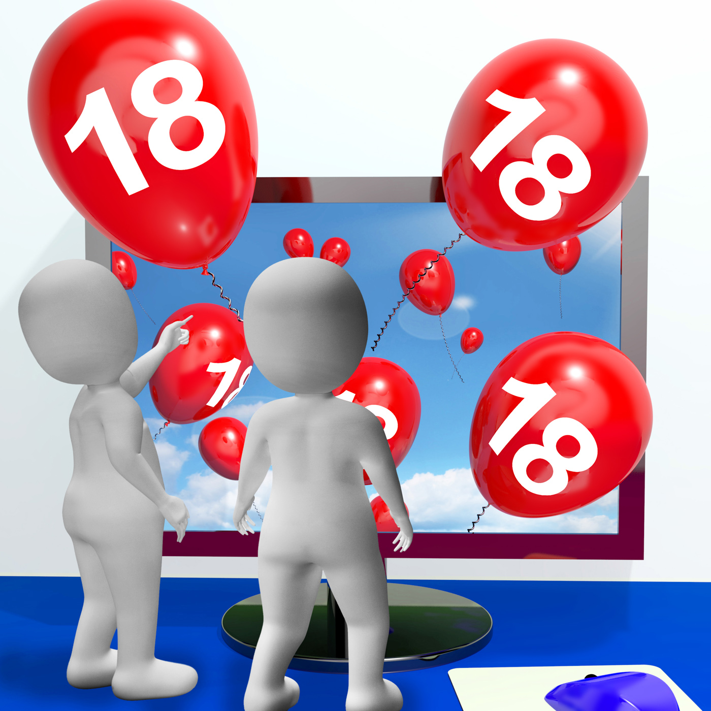 Number 18 balloons from monitor show online invitation or celebration photo