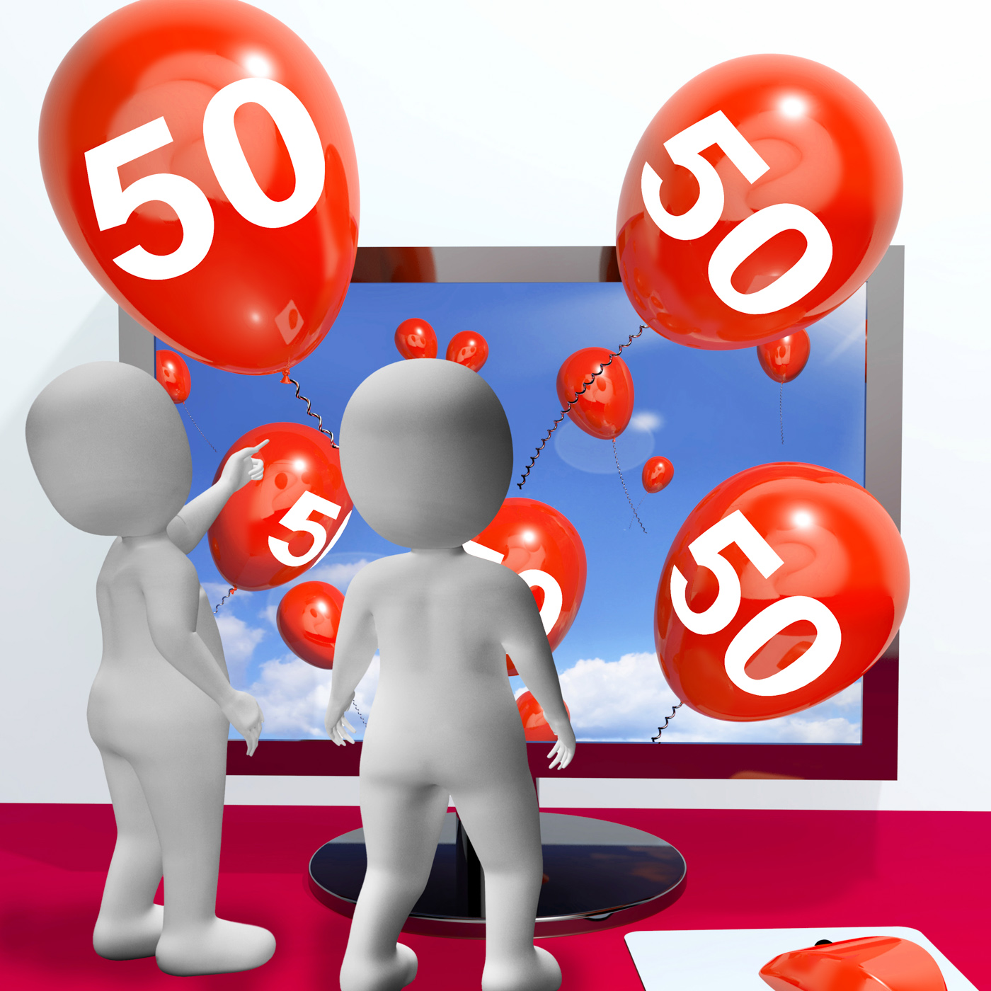 Number 50 balloons from monitor show online invitation or celebration photo